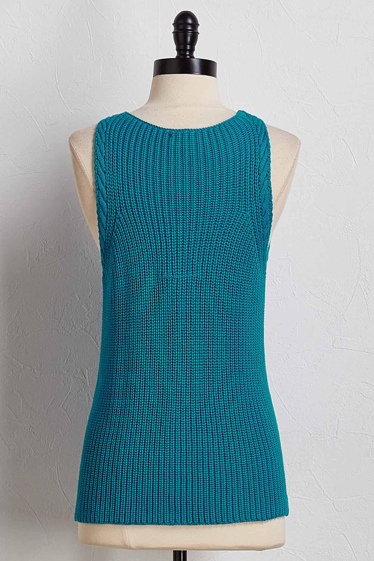 Cable Trim Sweater Tank
