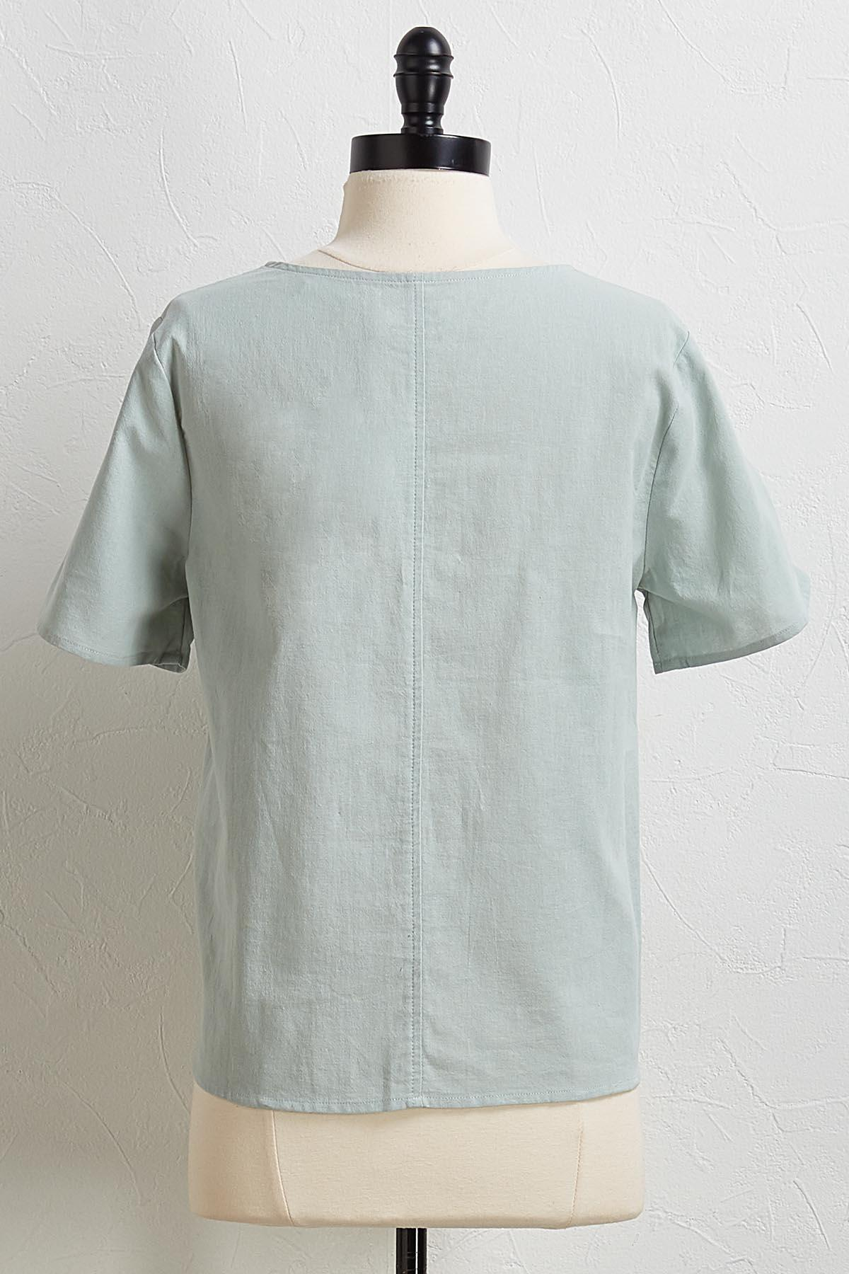 Button And Tie Front Top
