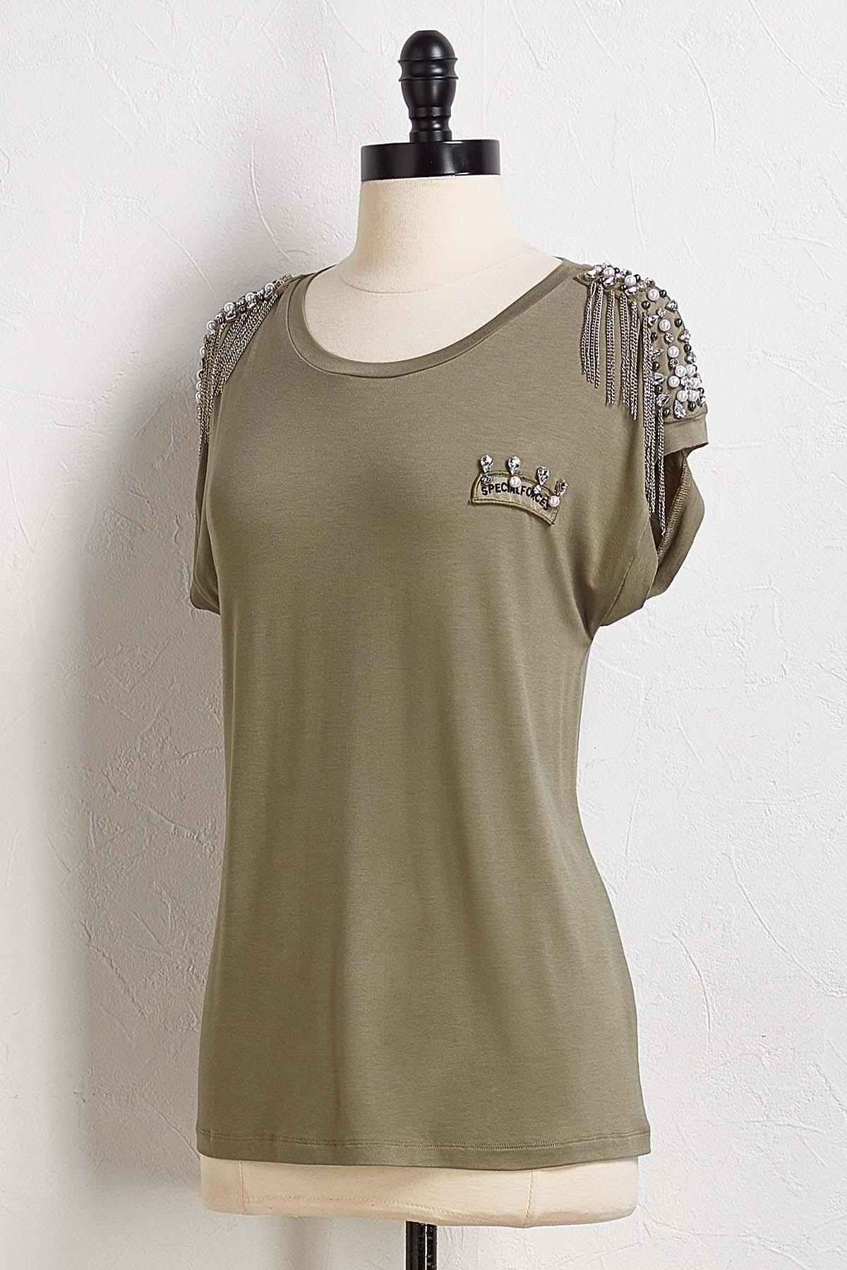Embellished Military Tee