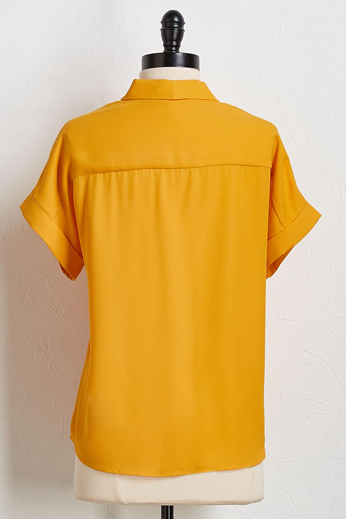 Solid Cuffed Sleeve Top