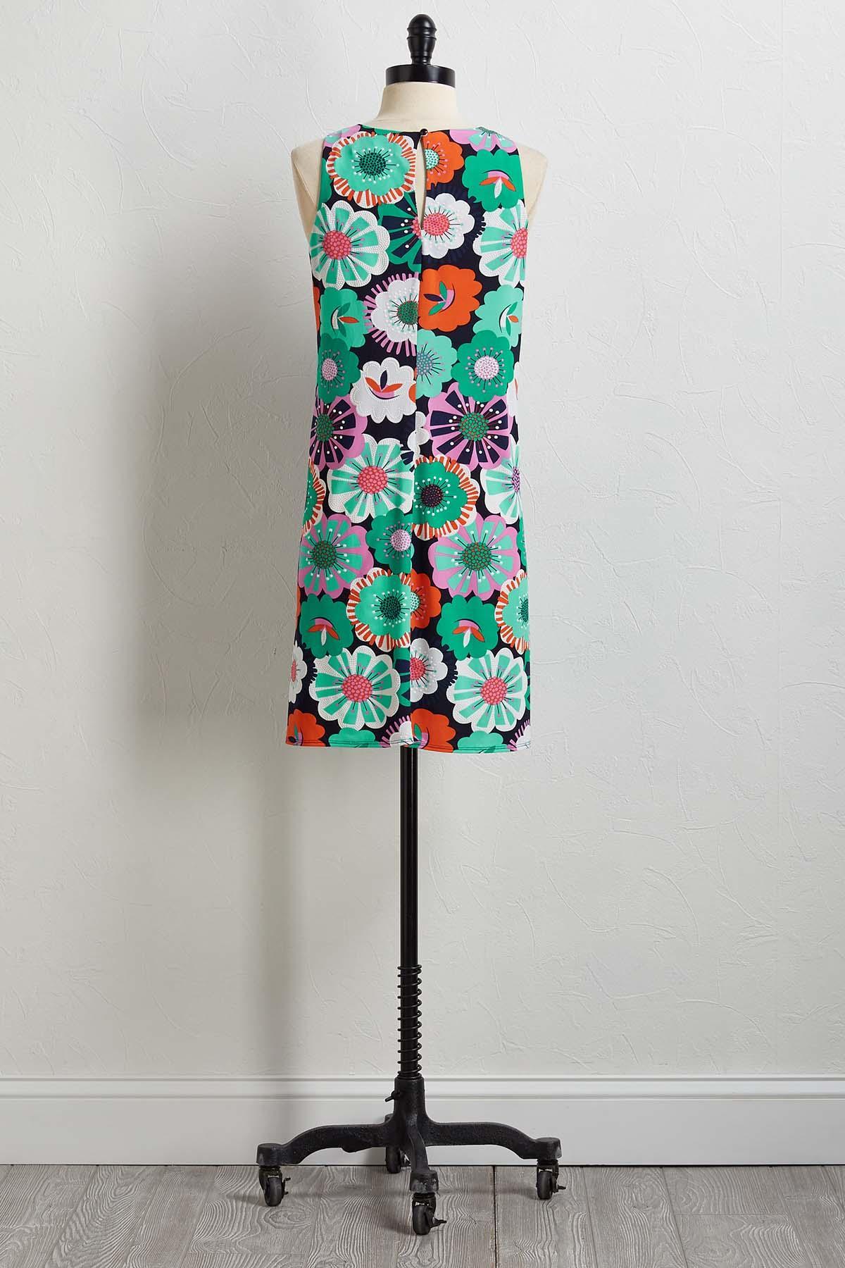 Floral Textured Print Shift Dress