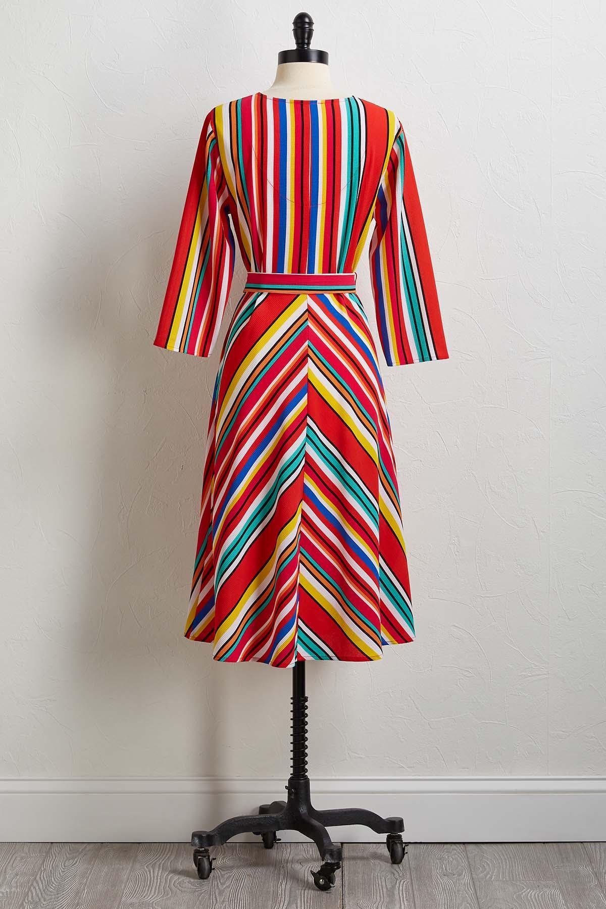 Bold Striped Tie Waist Dress