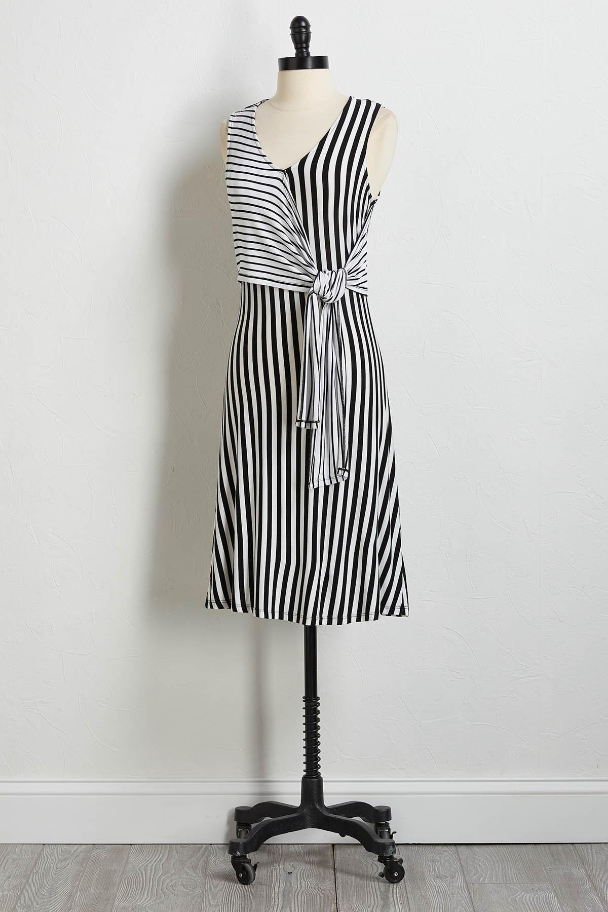 Mixed Stripe Side Tie Dress
