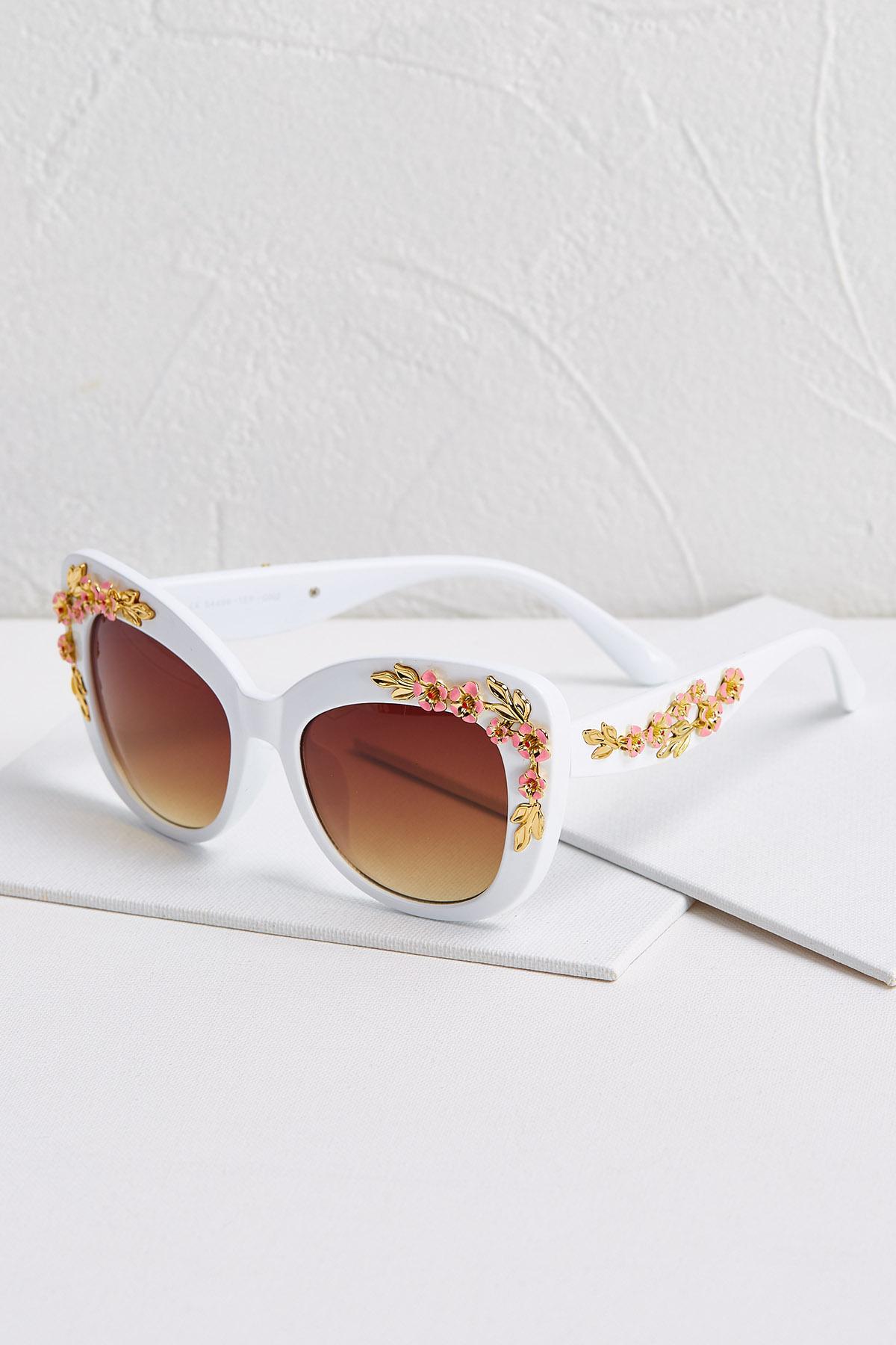 White Floral Sunglasses