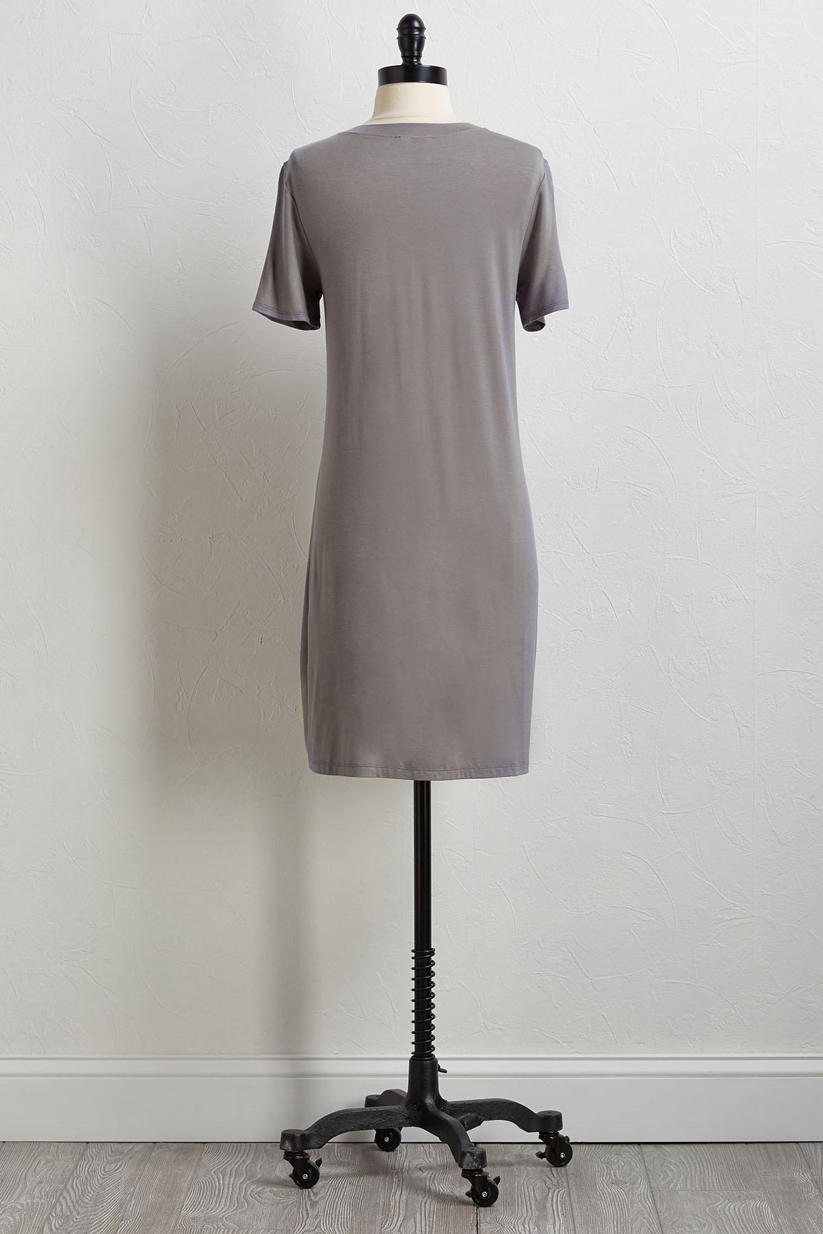 Buttoned Pocket Tee Shirt Dress