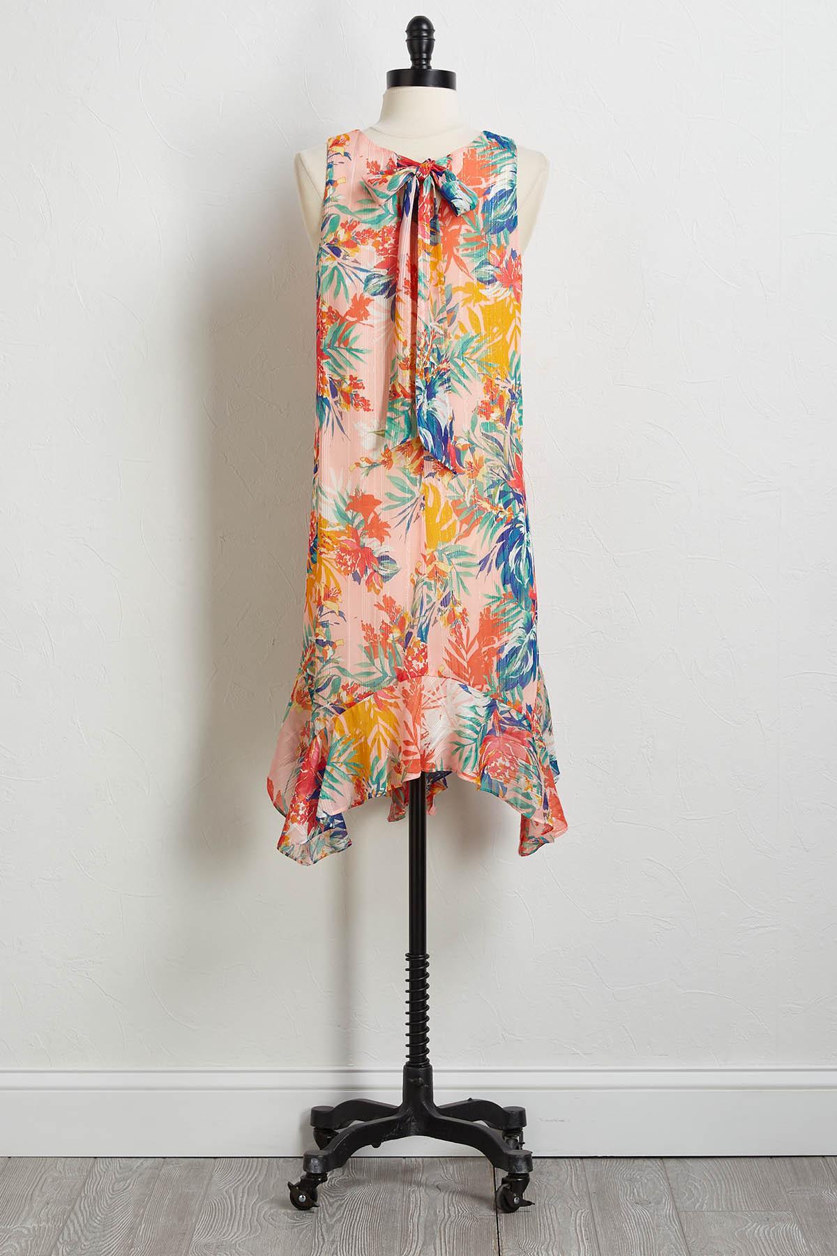 Floral Ruffled Hem Shift Dress