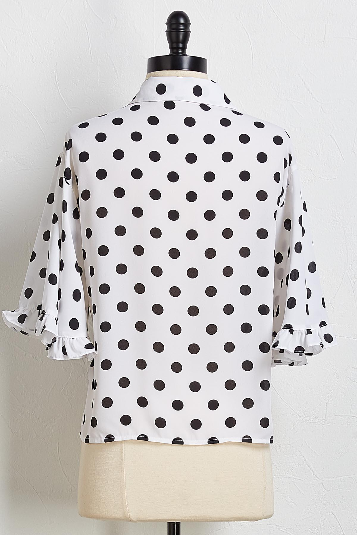 Polka Dot Ruffle Trim Shirt