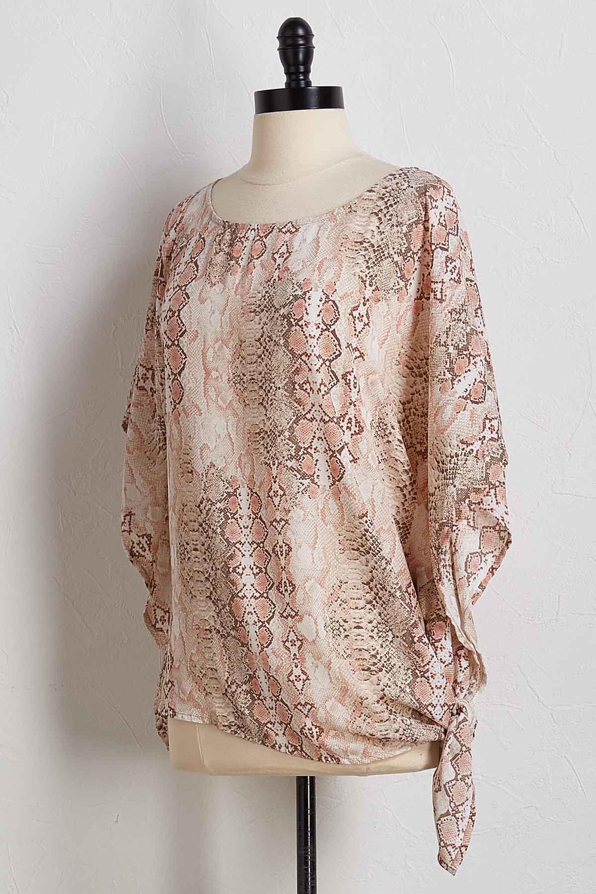 Snakeskin Print Kimono Top