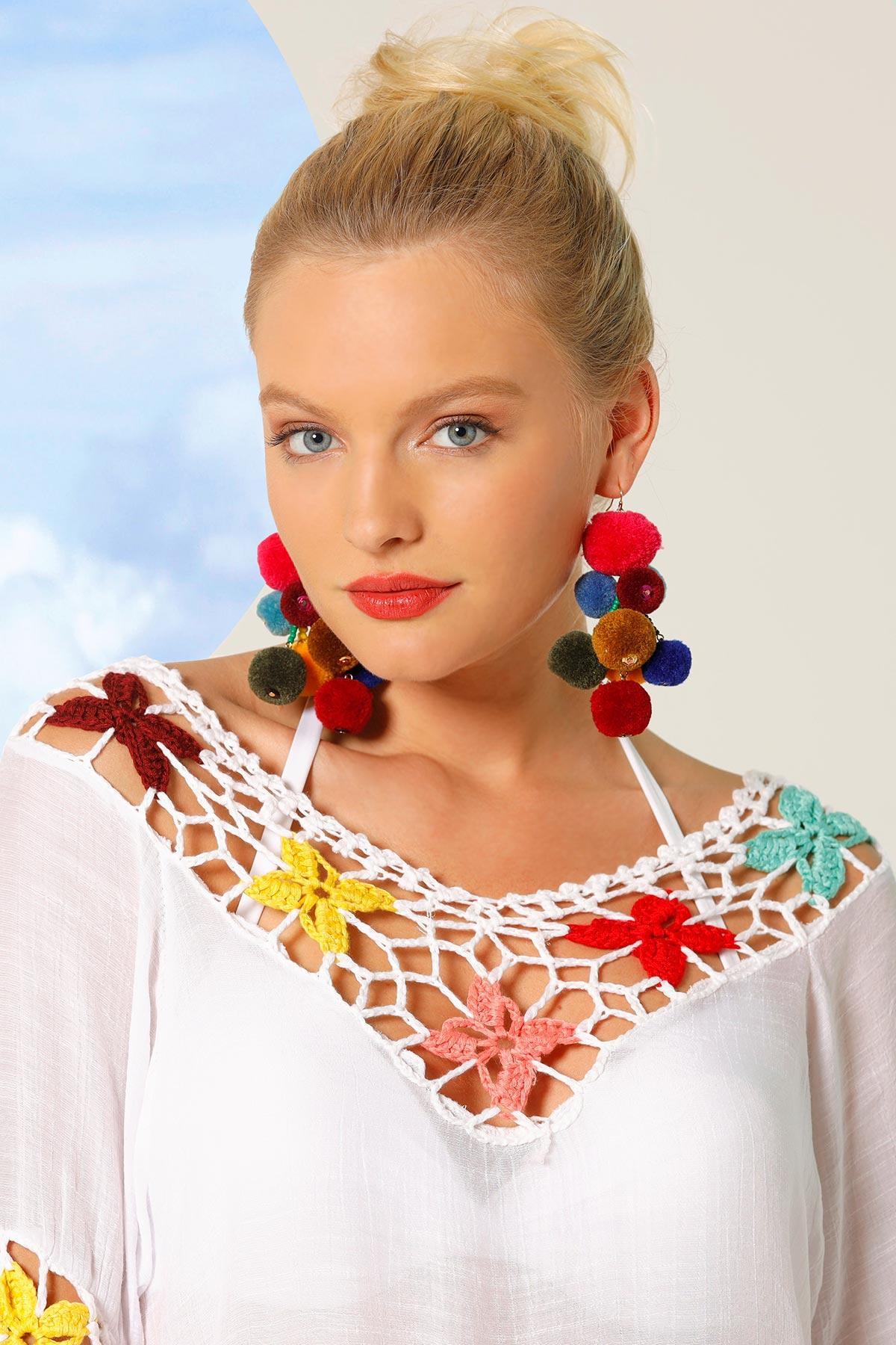 Colorful Cluster Pom- Pom Earrings