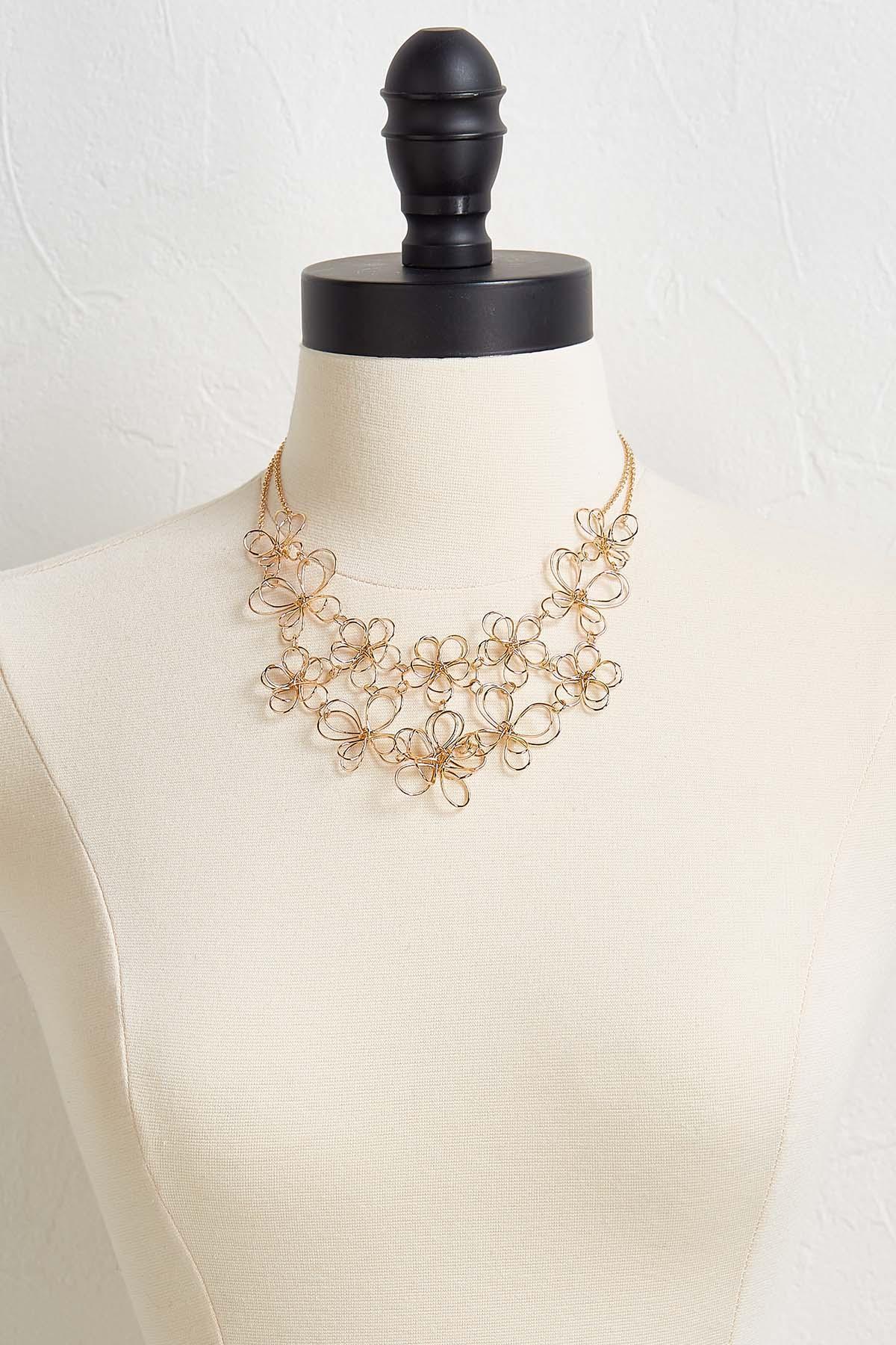 Wire Flower Bib Necklace
