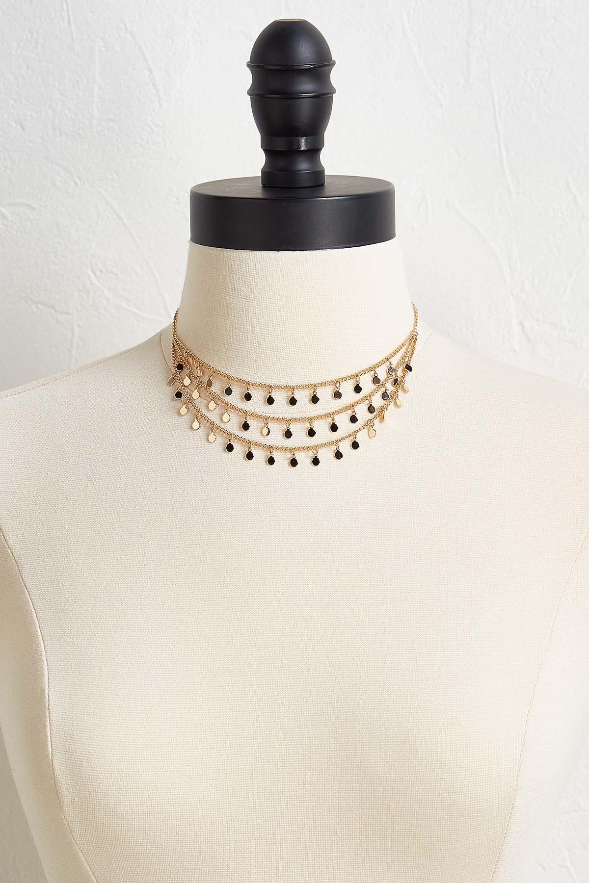 Layered Shaky Disk Necklace