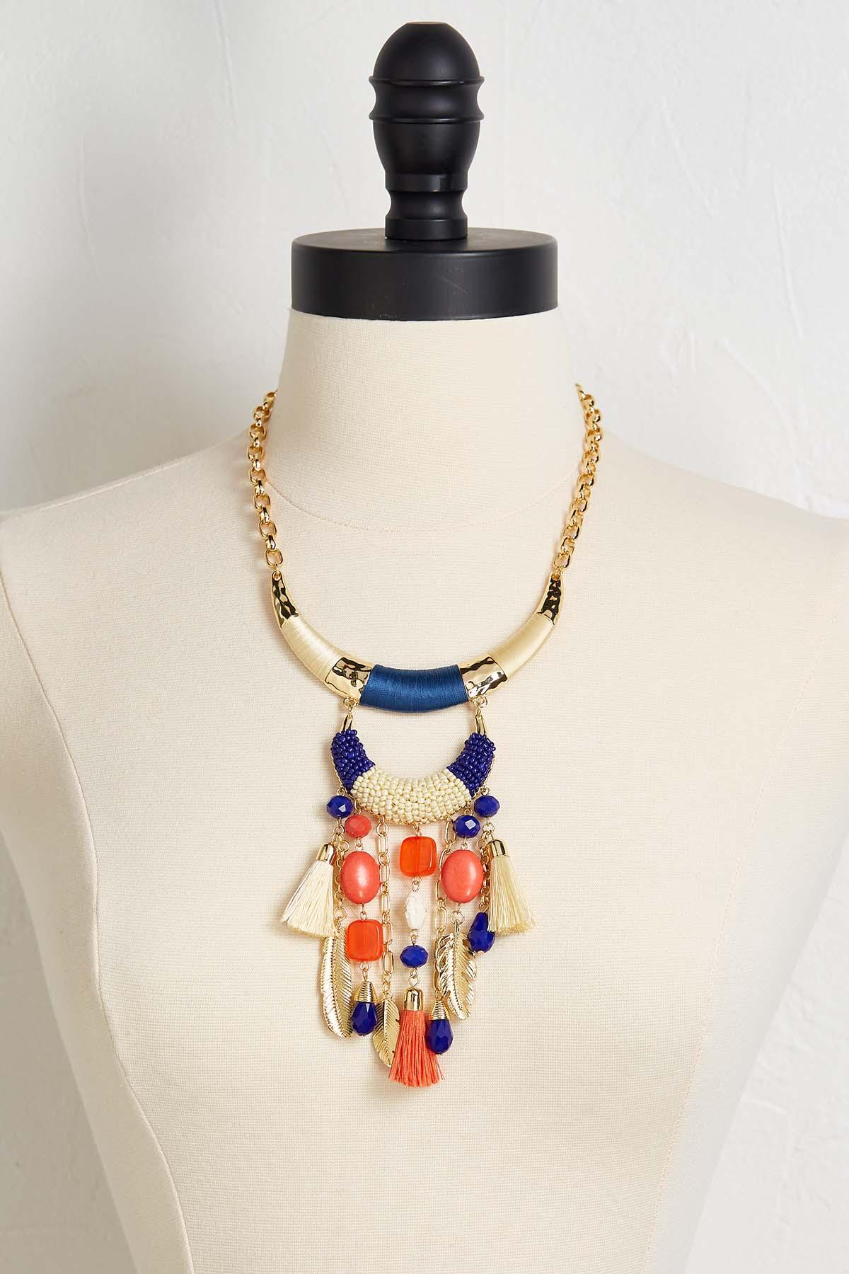Charmed And Tasseled Bib Necklace