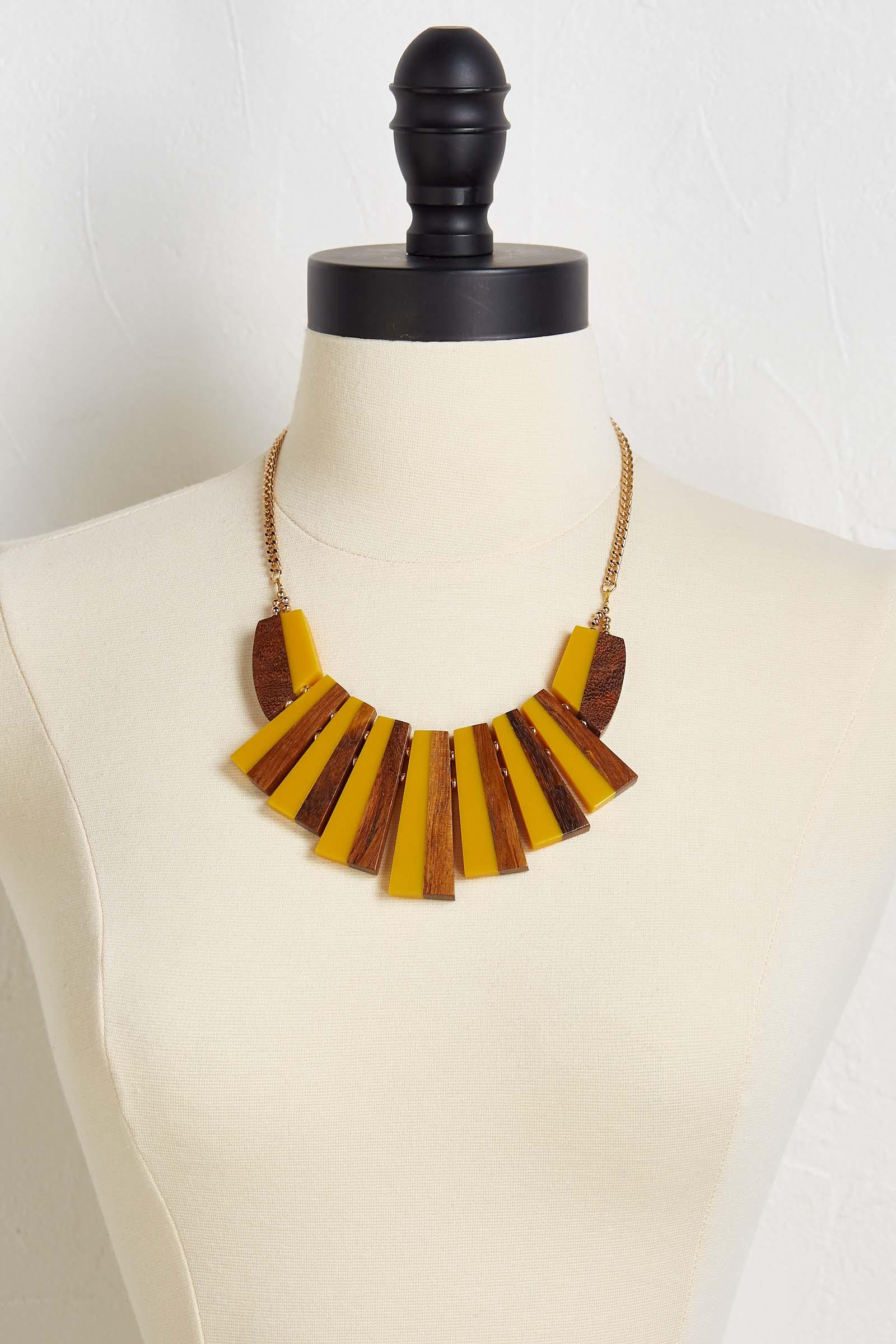 Resin Wood Bib Necklace