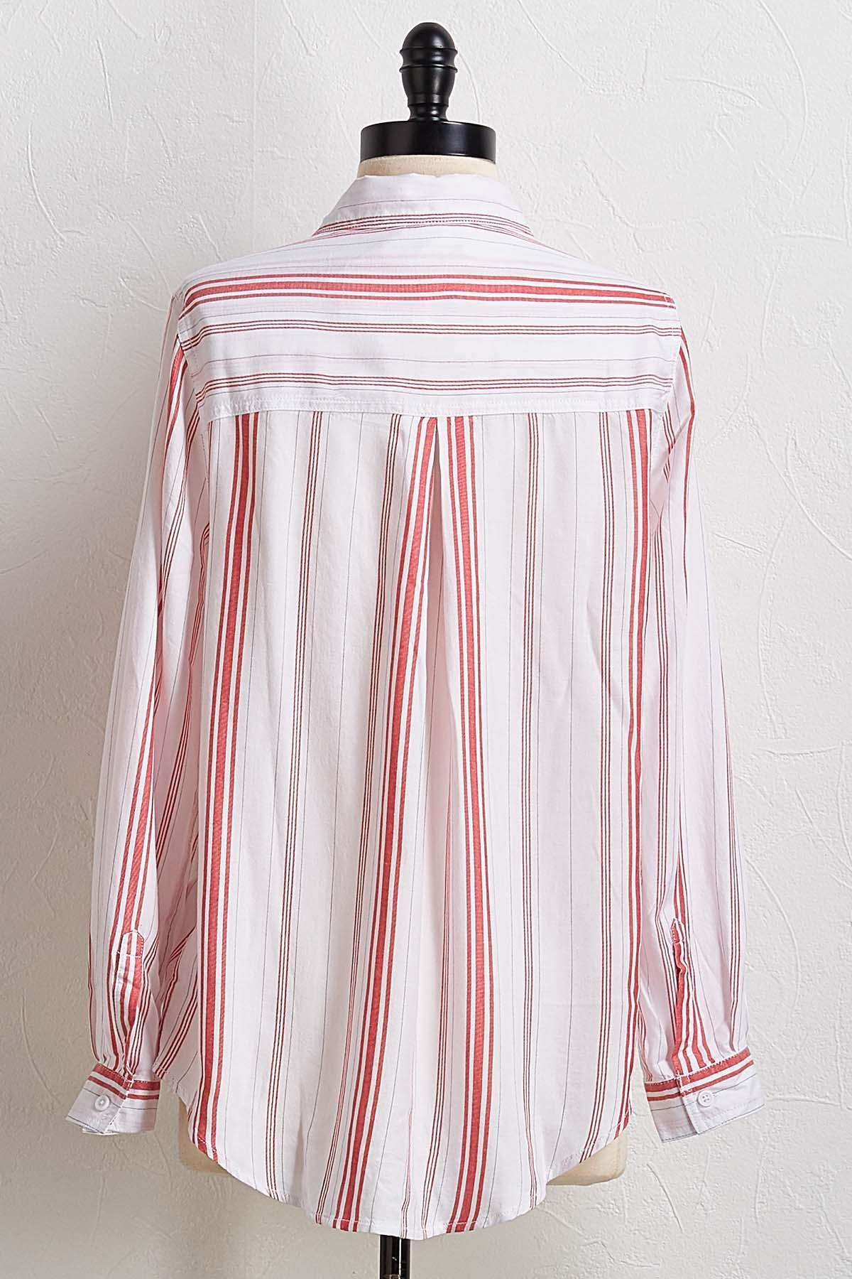 Red Stripe Boyfriend Shirt