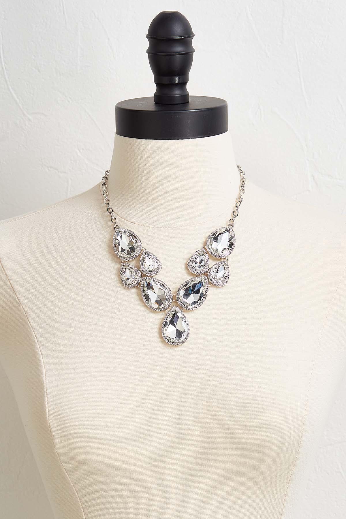 Tear Shaped Stone Bib Necklace