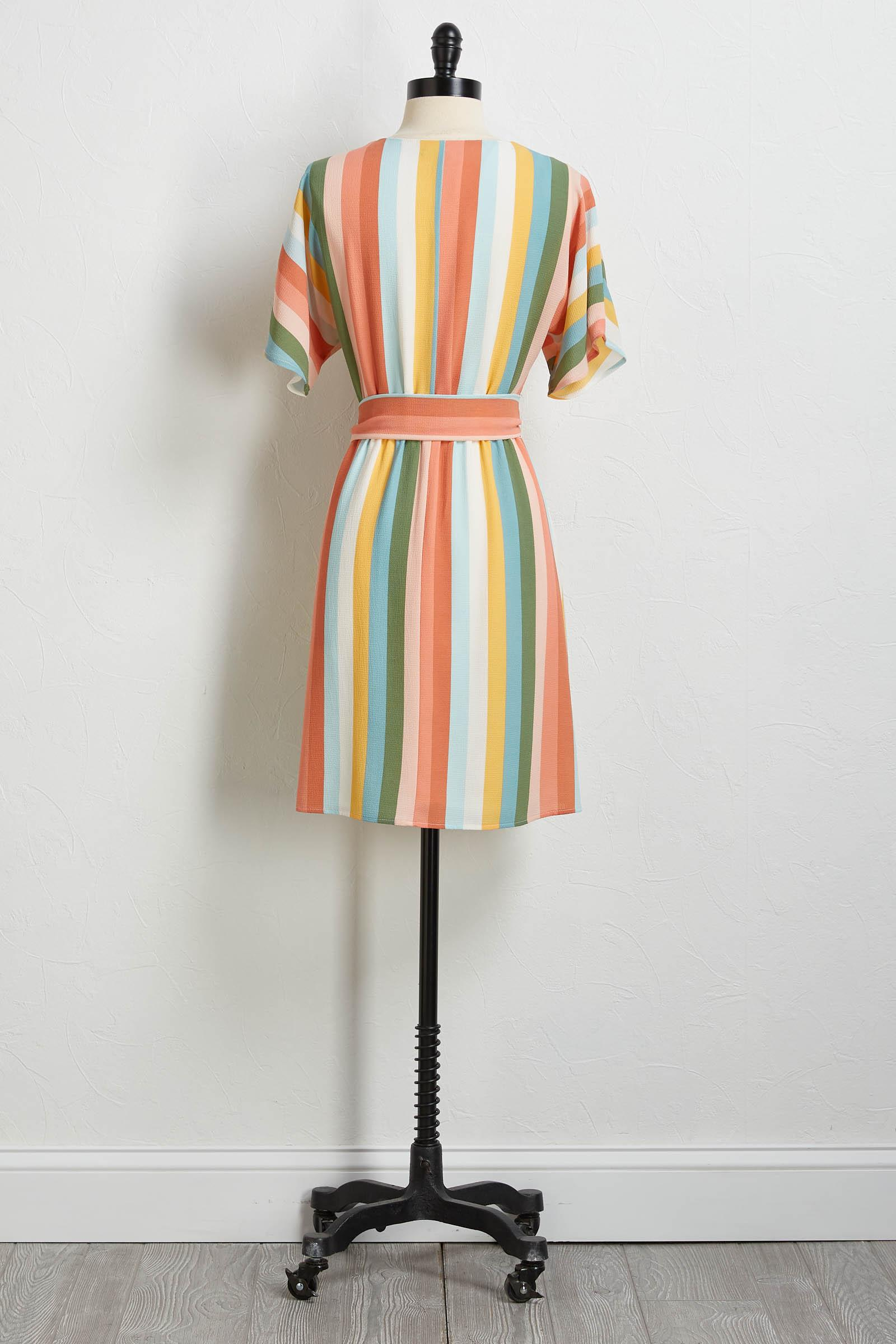 Striped Button Tie Waist Dress