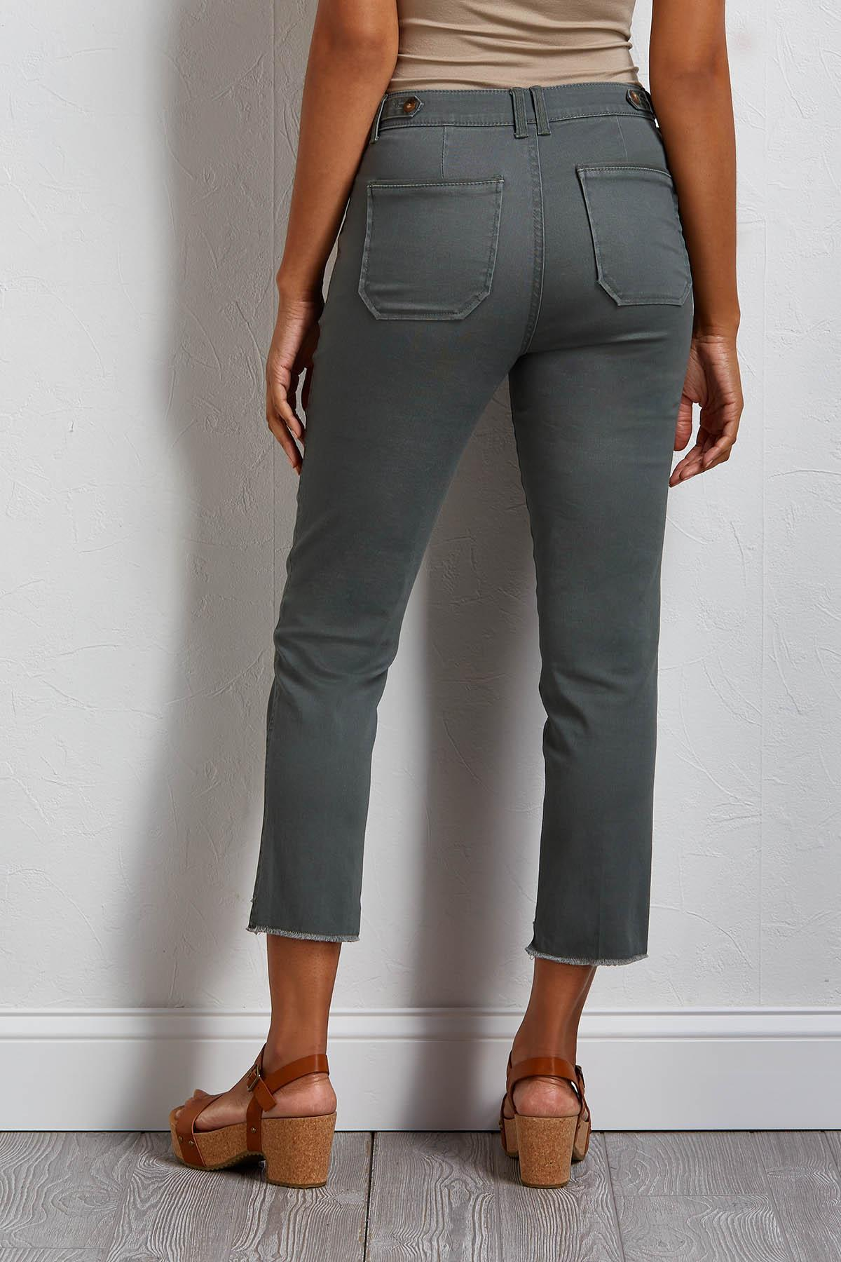Cropped Fray Hem Utility Pants