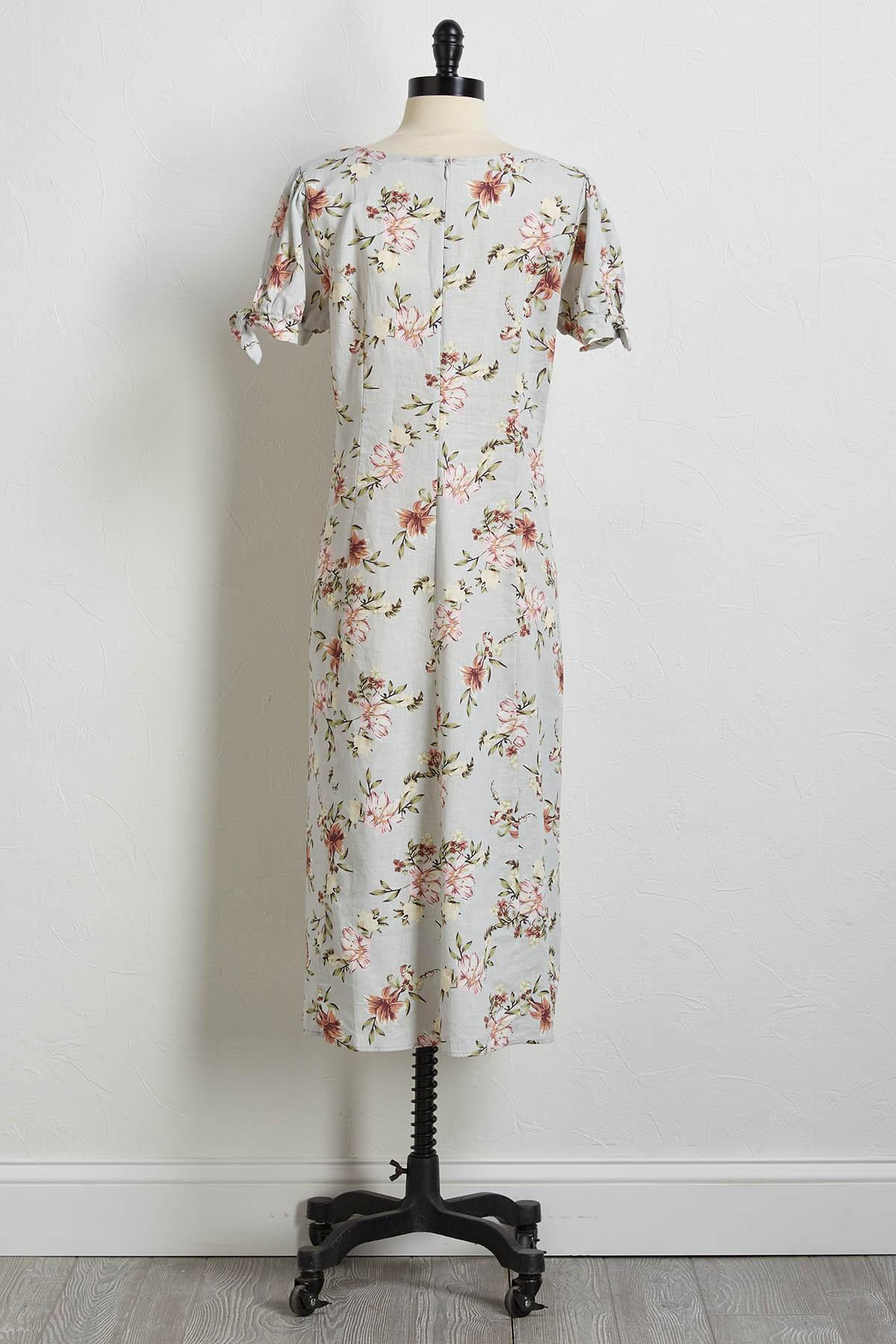 Floral Linen Fit And Flare Dress