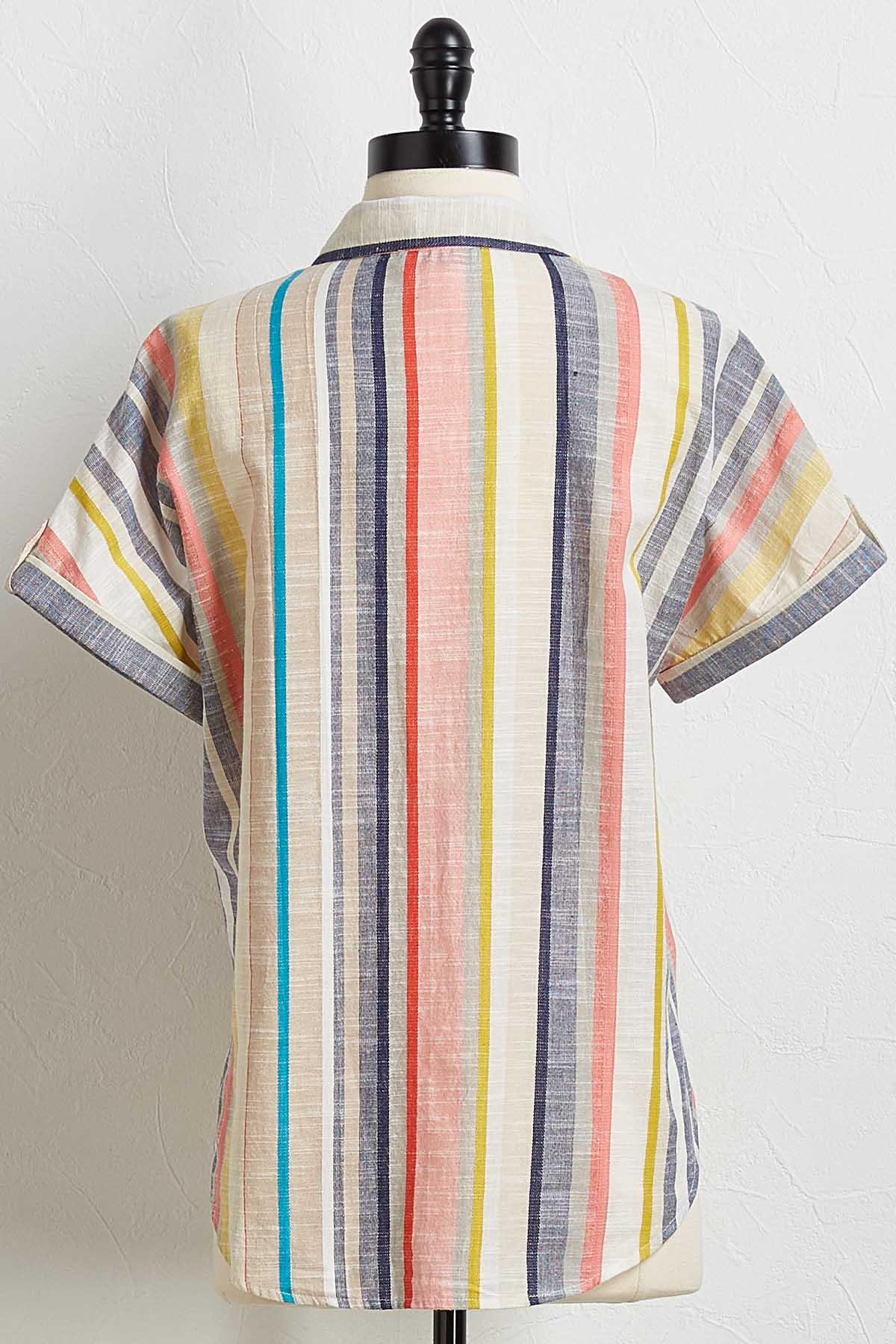 Linen Striped Button Down Top