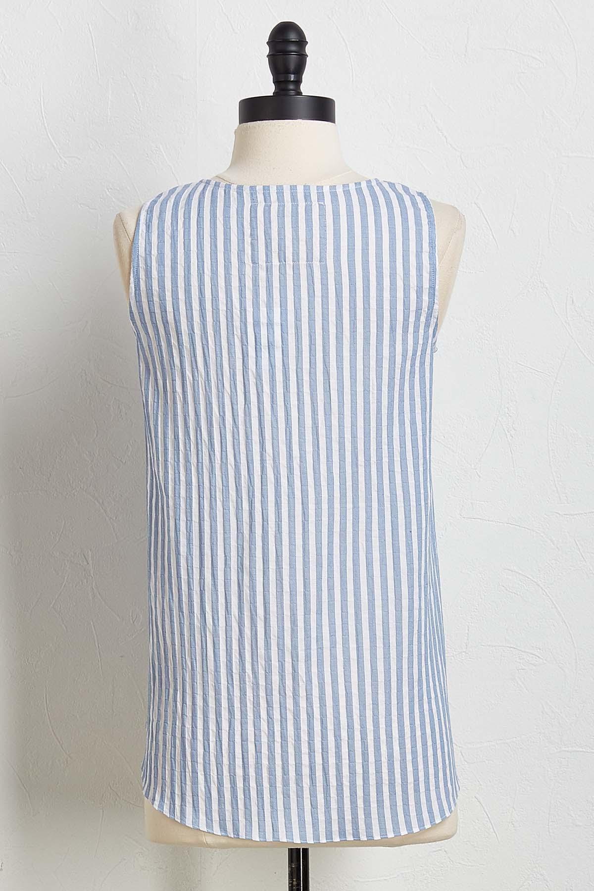 Linen Stripe Tie Tank