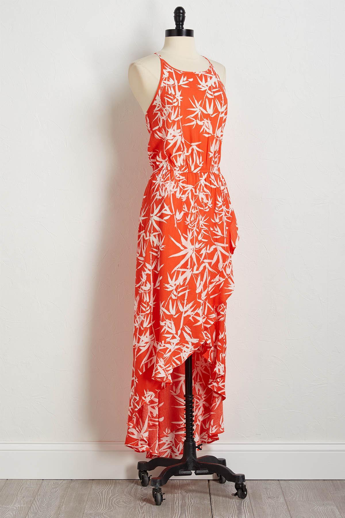 Ruffled Bamboo Print Maxi Dress