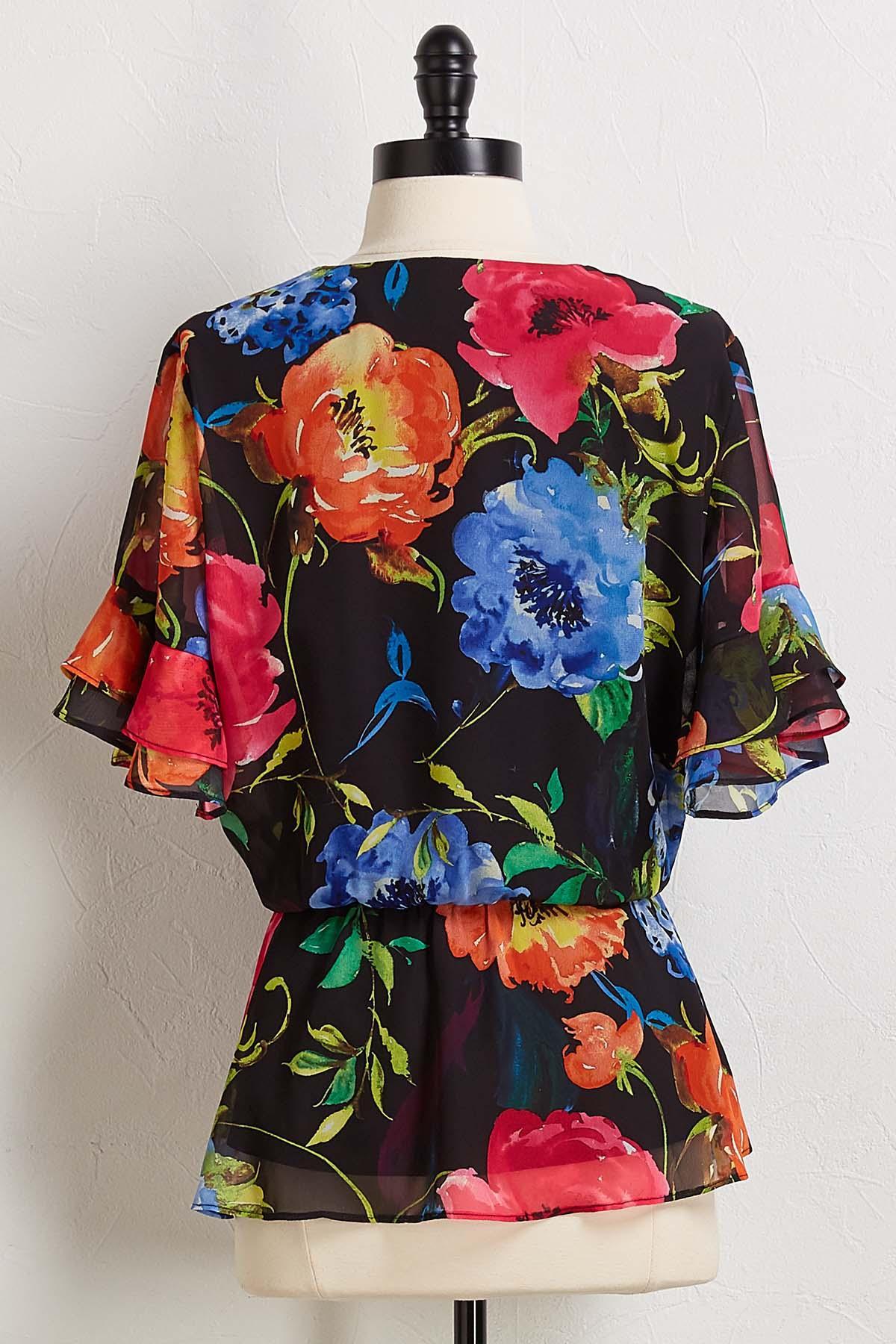 Bright Floral Wrap Top