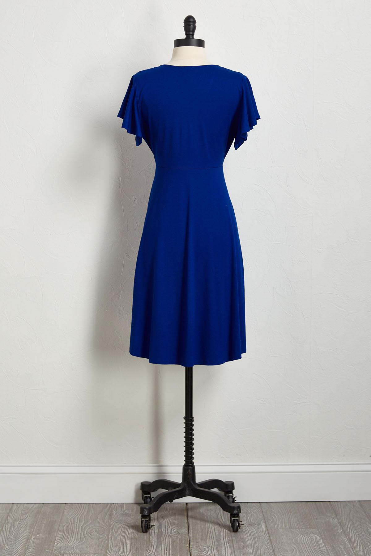Bright Blue Flutter Sleeve Dress