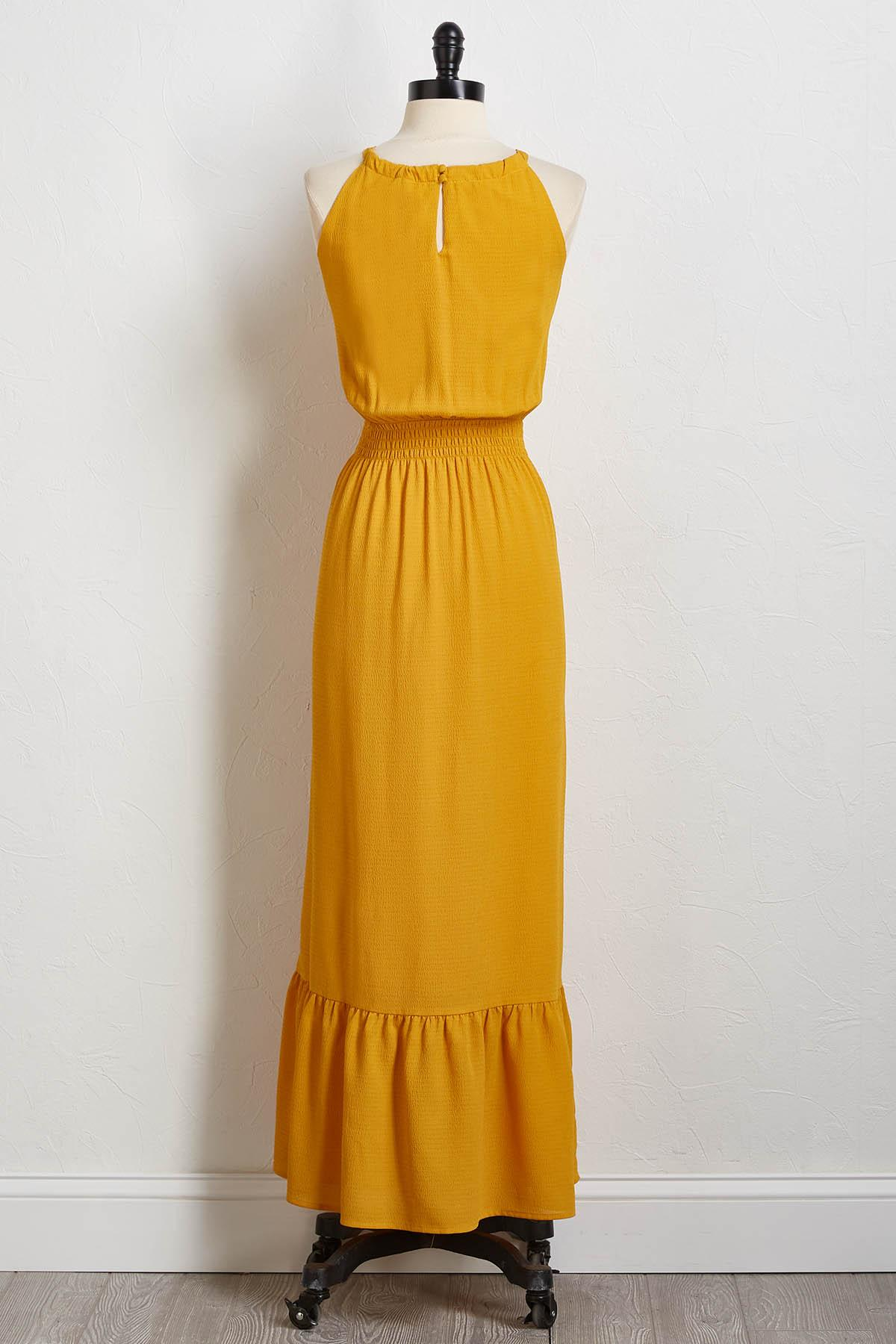 Crepe Ruched Waist Maxi Dress