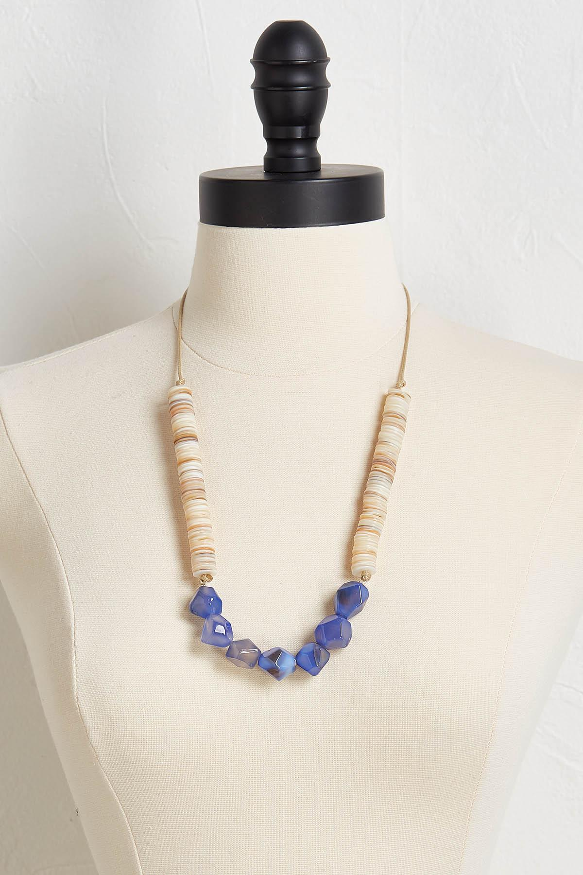 Shell And Stone Tassel Necklace