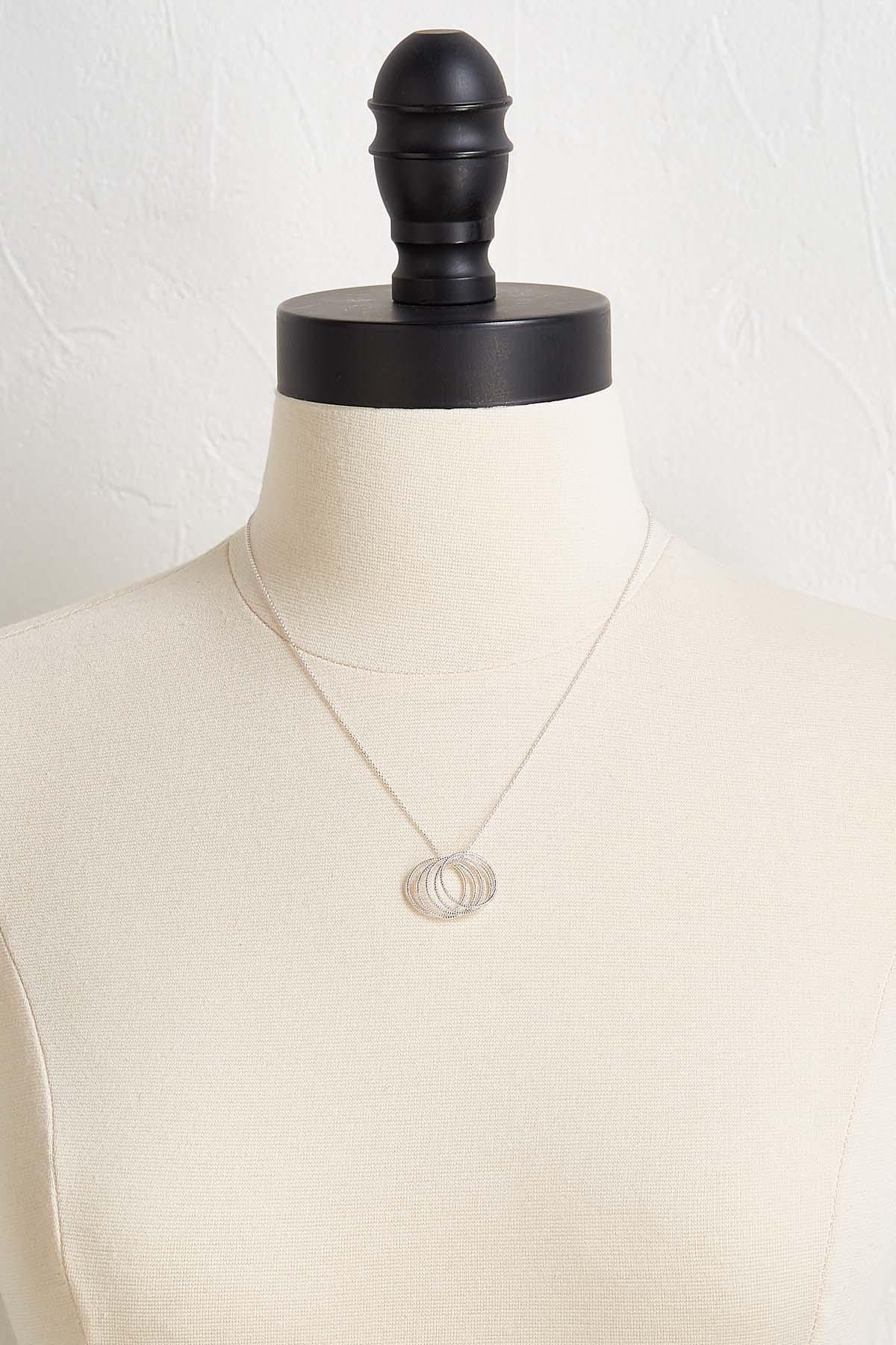 Textured Metal Ring Pendant Necklace
