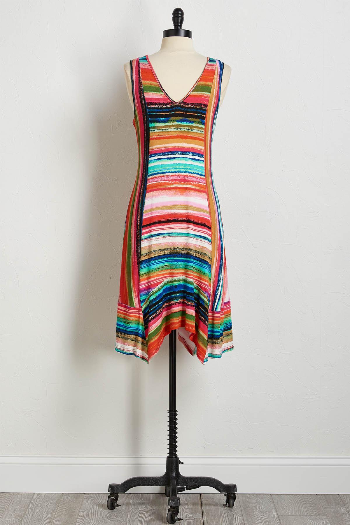 Pop Rainbow Stripe Midi Dress