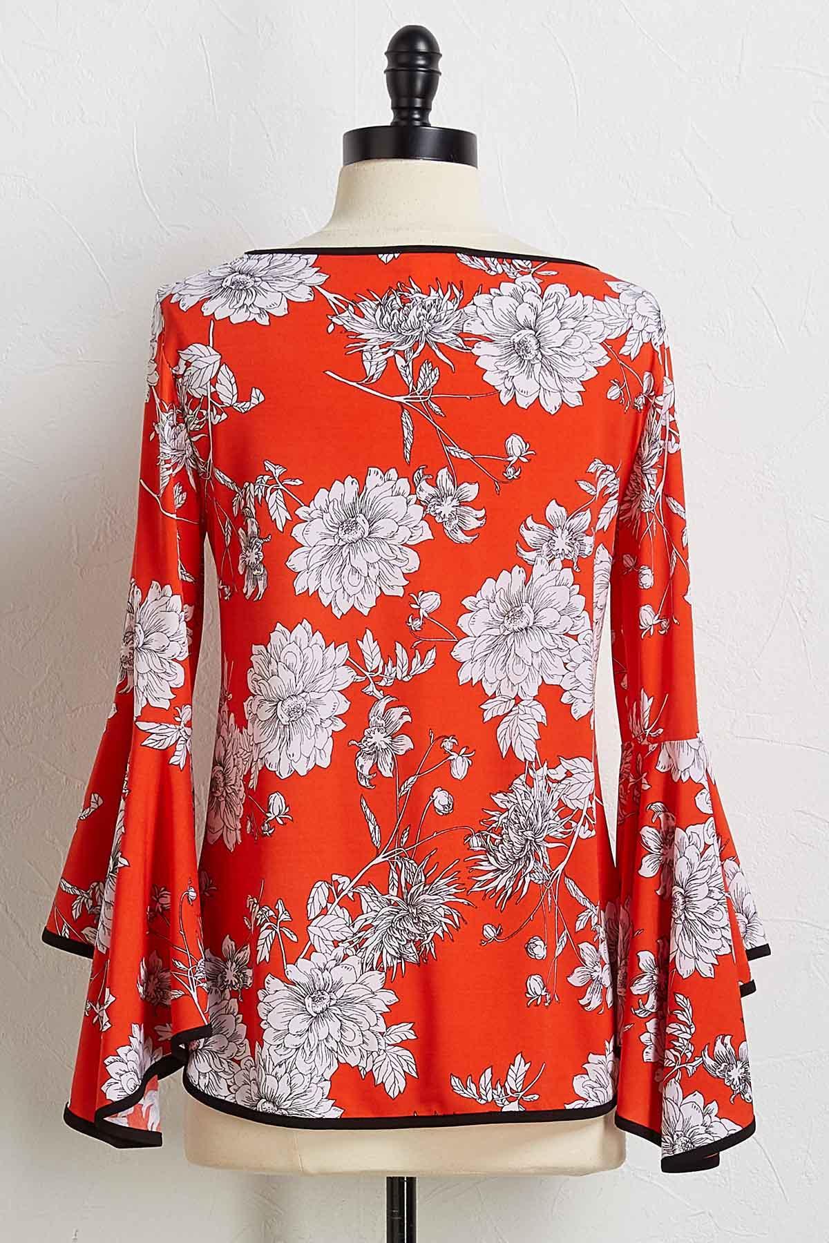 Red Sketch Floral Top