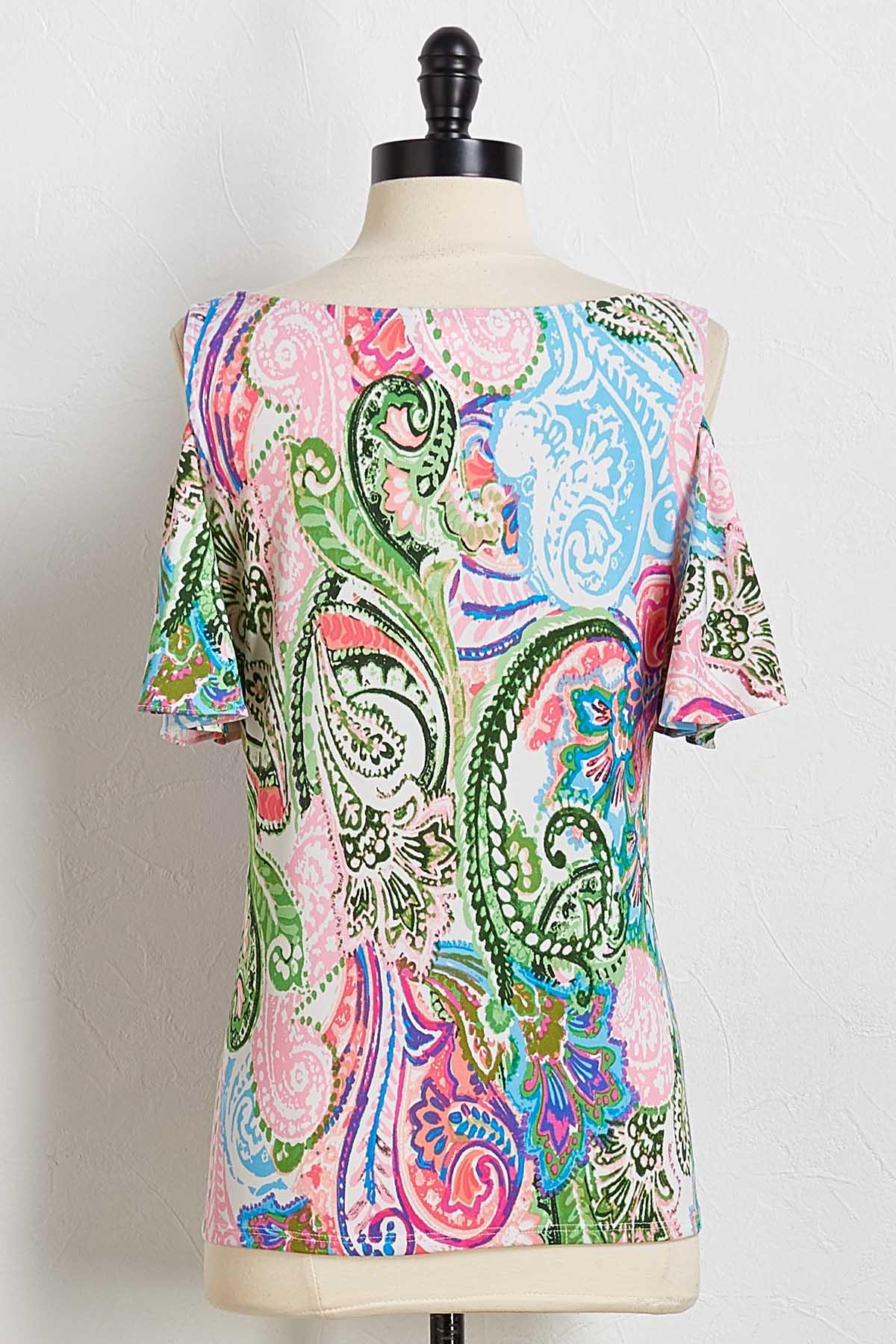 Bright Paisley Bare Shoulder Top