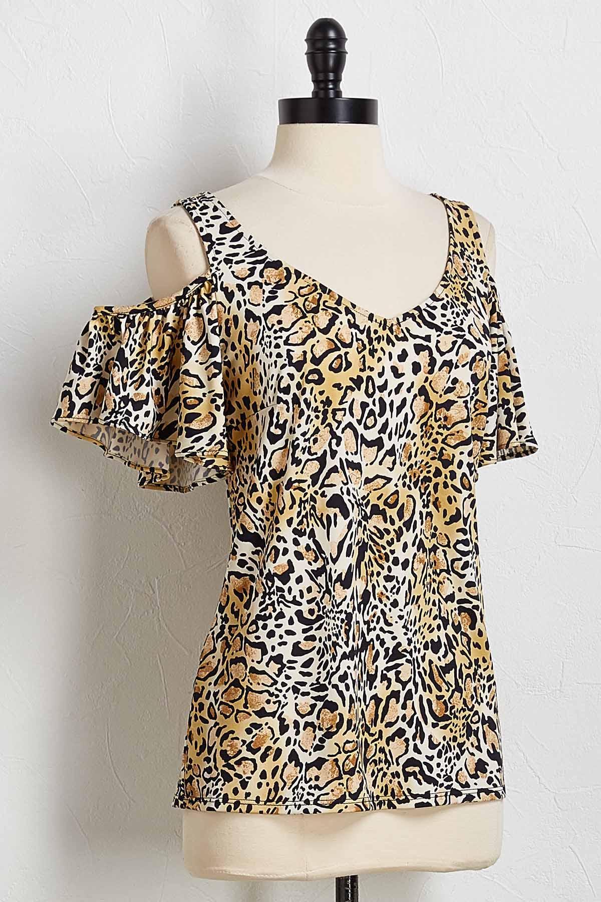 Leopard Bare Shoulder Top