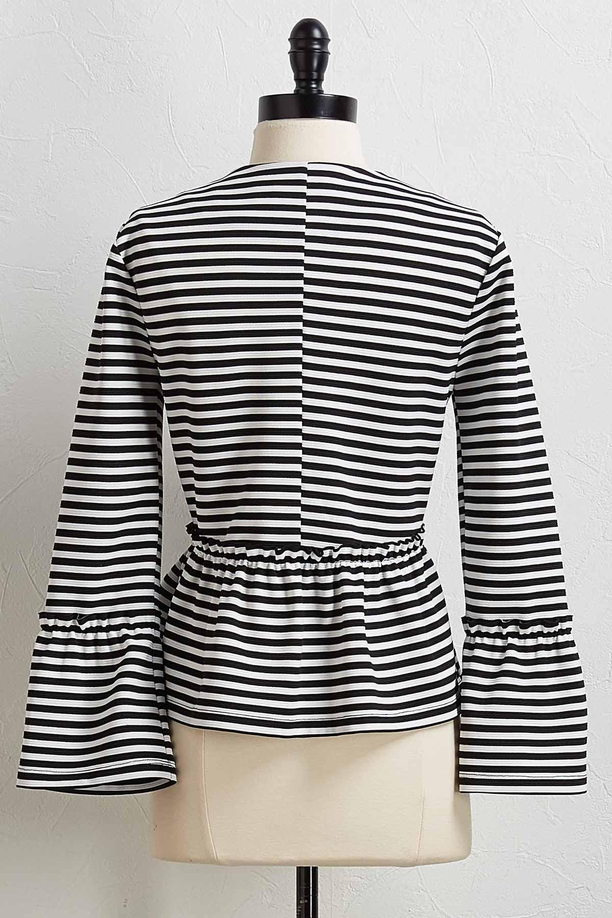Striped Peplum Jacket