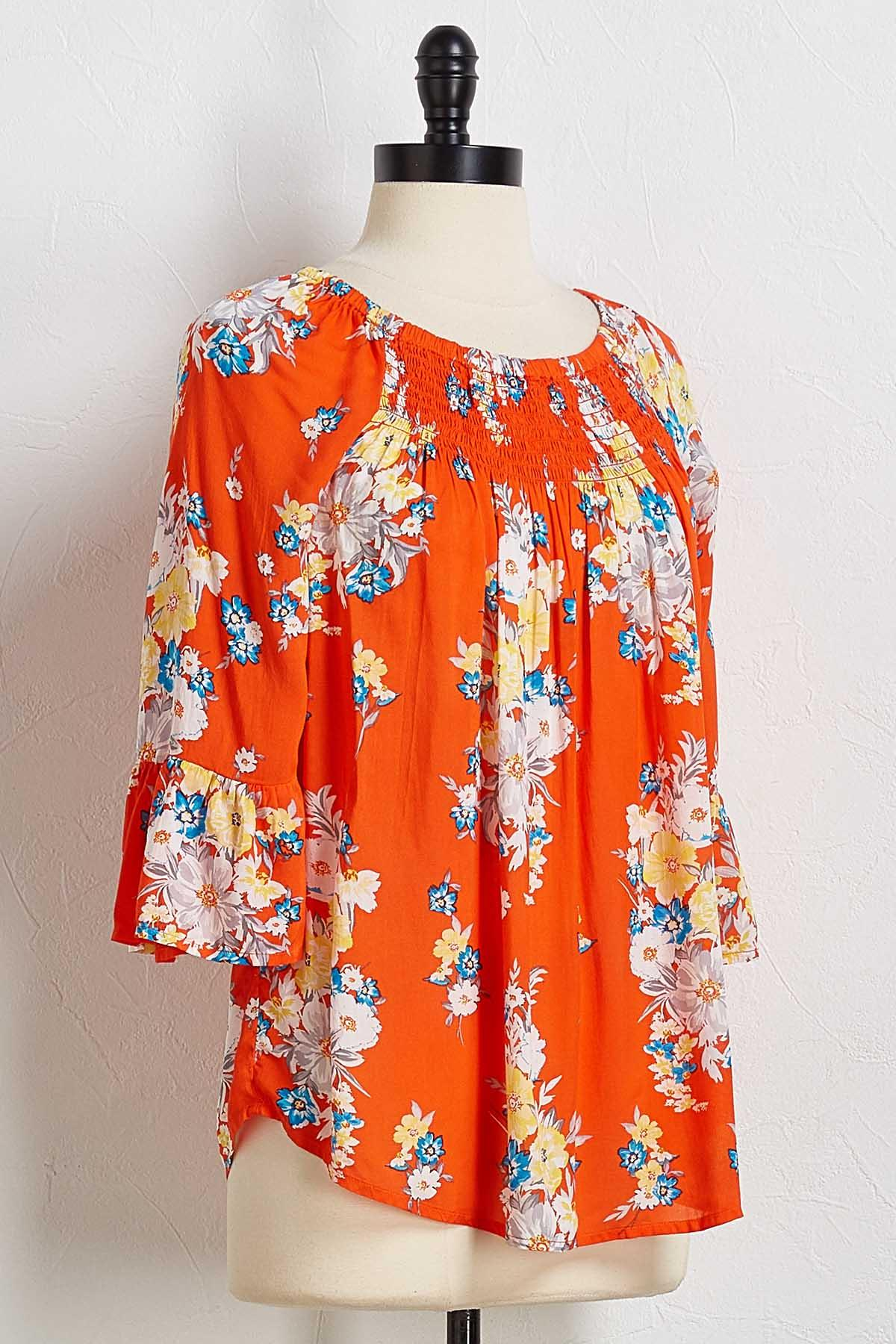 Orange Floral Off The Shoulder Top