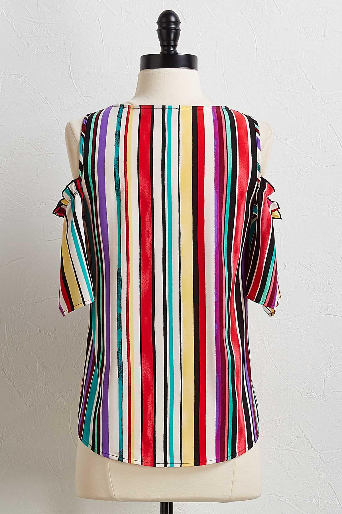 Colorful Stripe Bare Shoulder Top