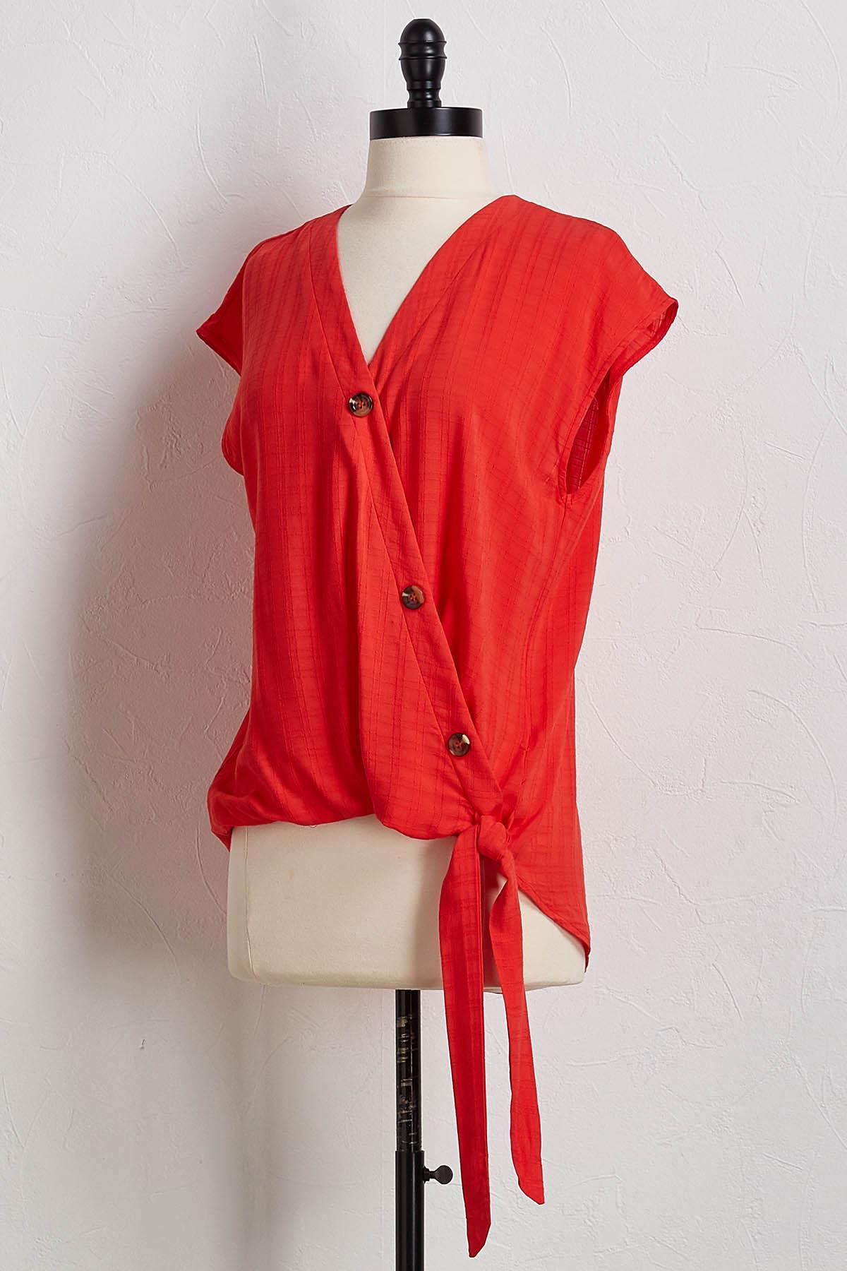 Scarlet Button Tie Waist Top