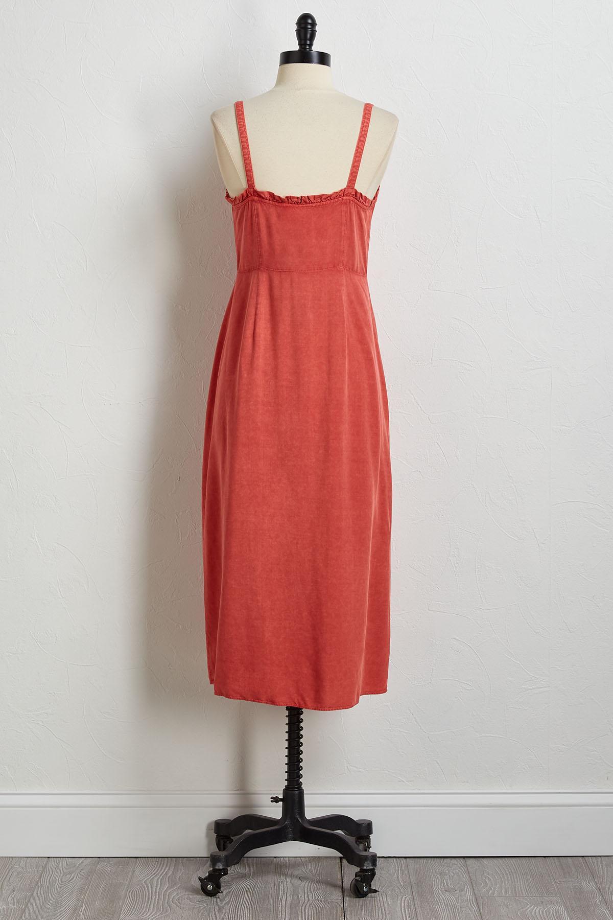 Ruffled Button Front Midi Dress