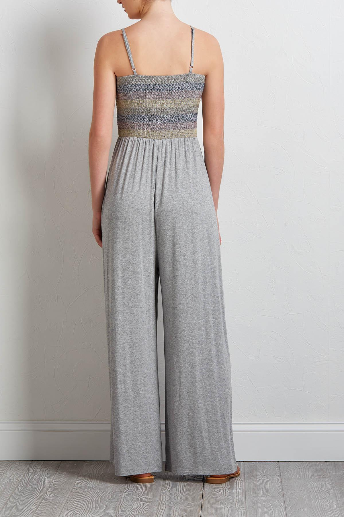 Gray Smocked Knit Jumpsuit
