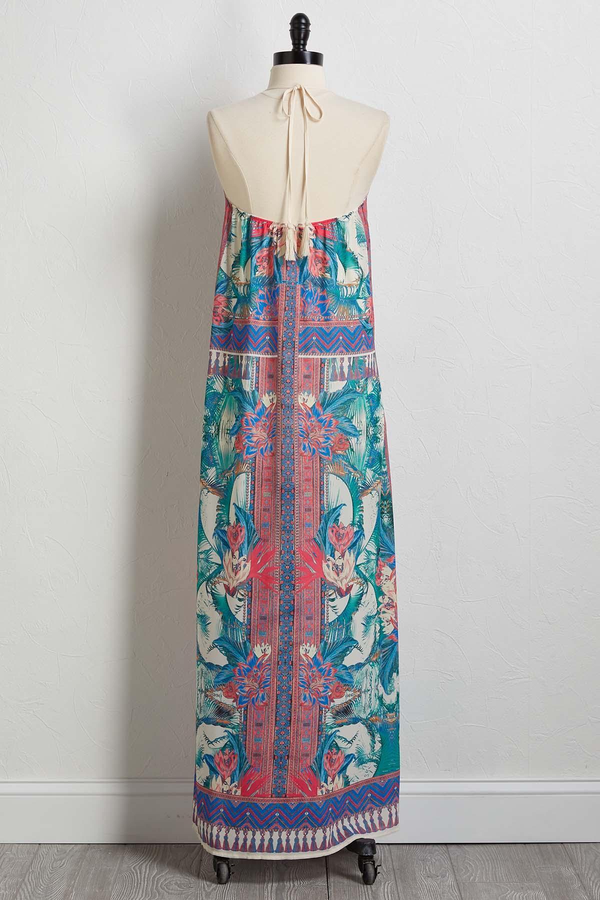 Tropical Mirror Print Maxi Dress