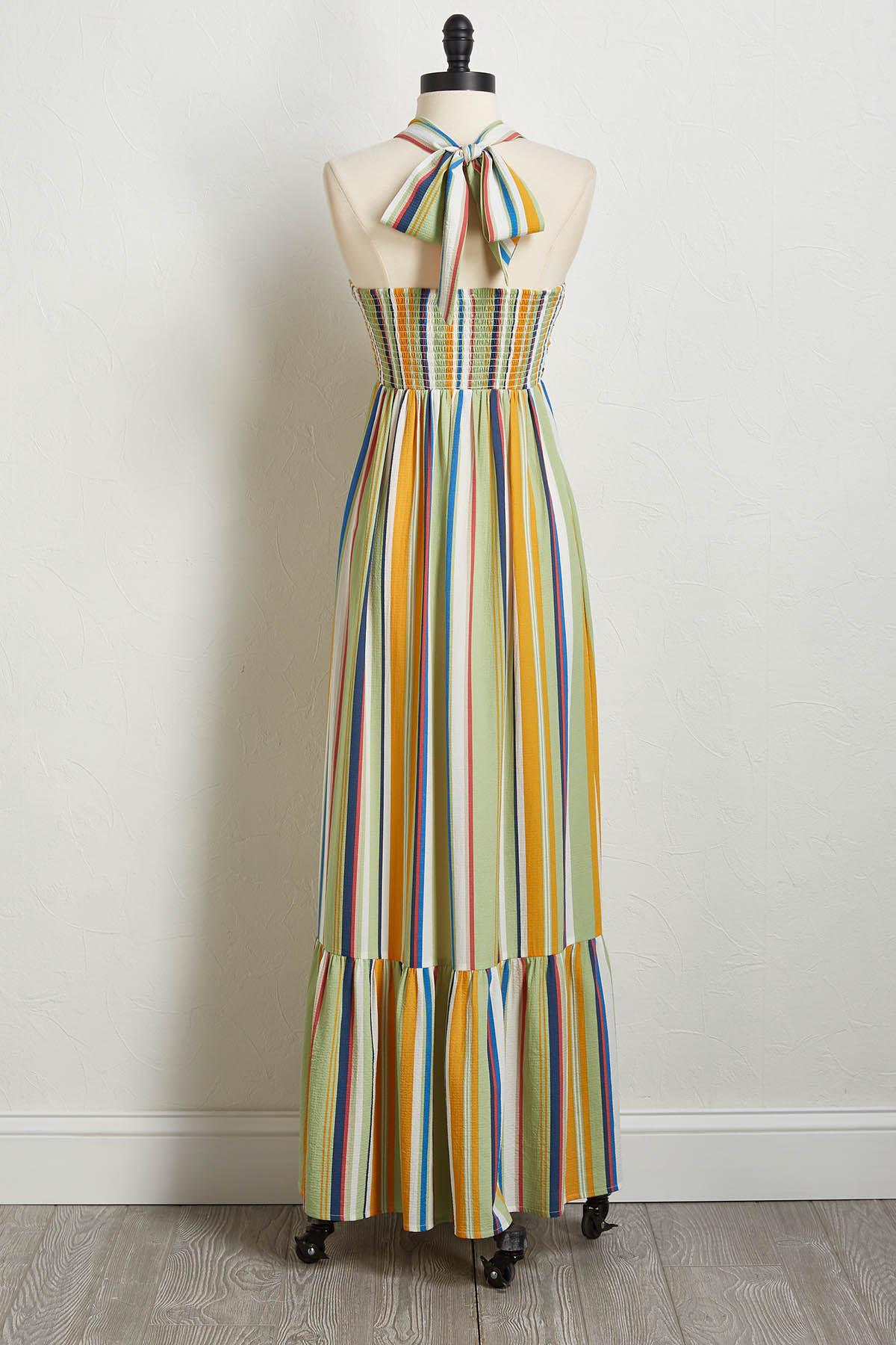 Multi Stripe Halter Maxi Dress