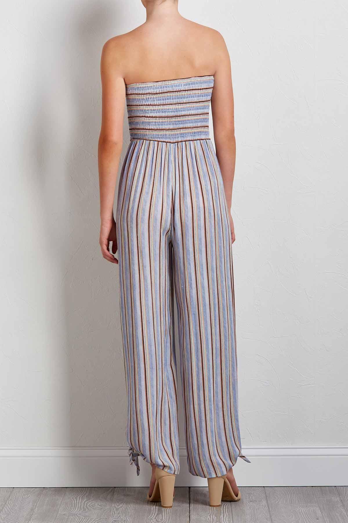 Stripe Smocked Jumpsuit
