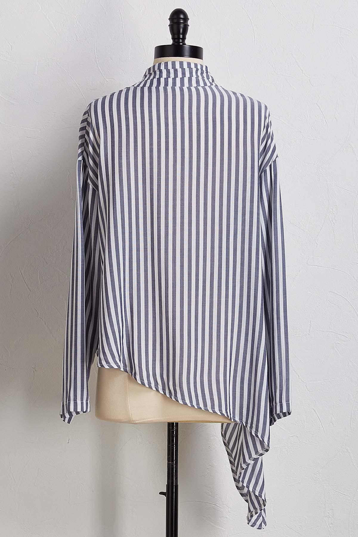 Stripe Knotted High- Low Top