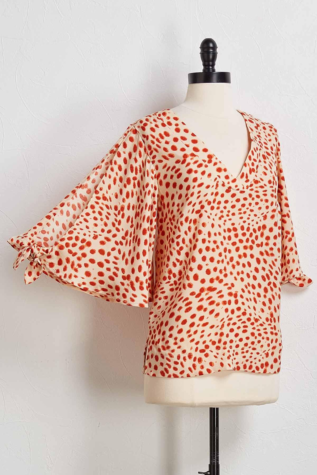 Coral Crush Spotted Top