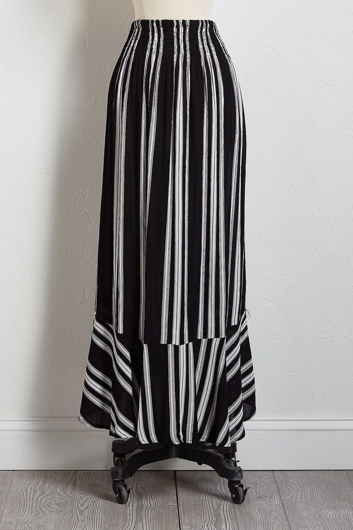 Gauze Stripe Maxi Skirt