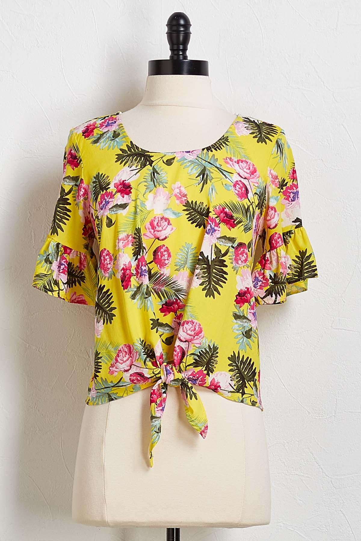 Tropical Floral Tie Front Top