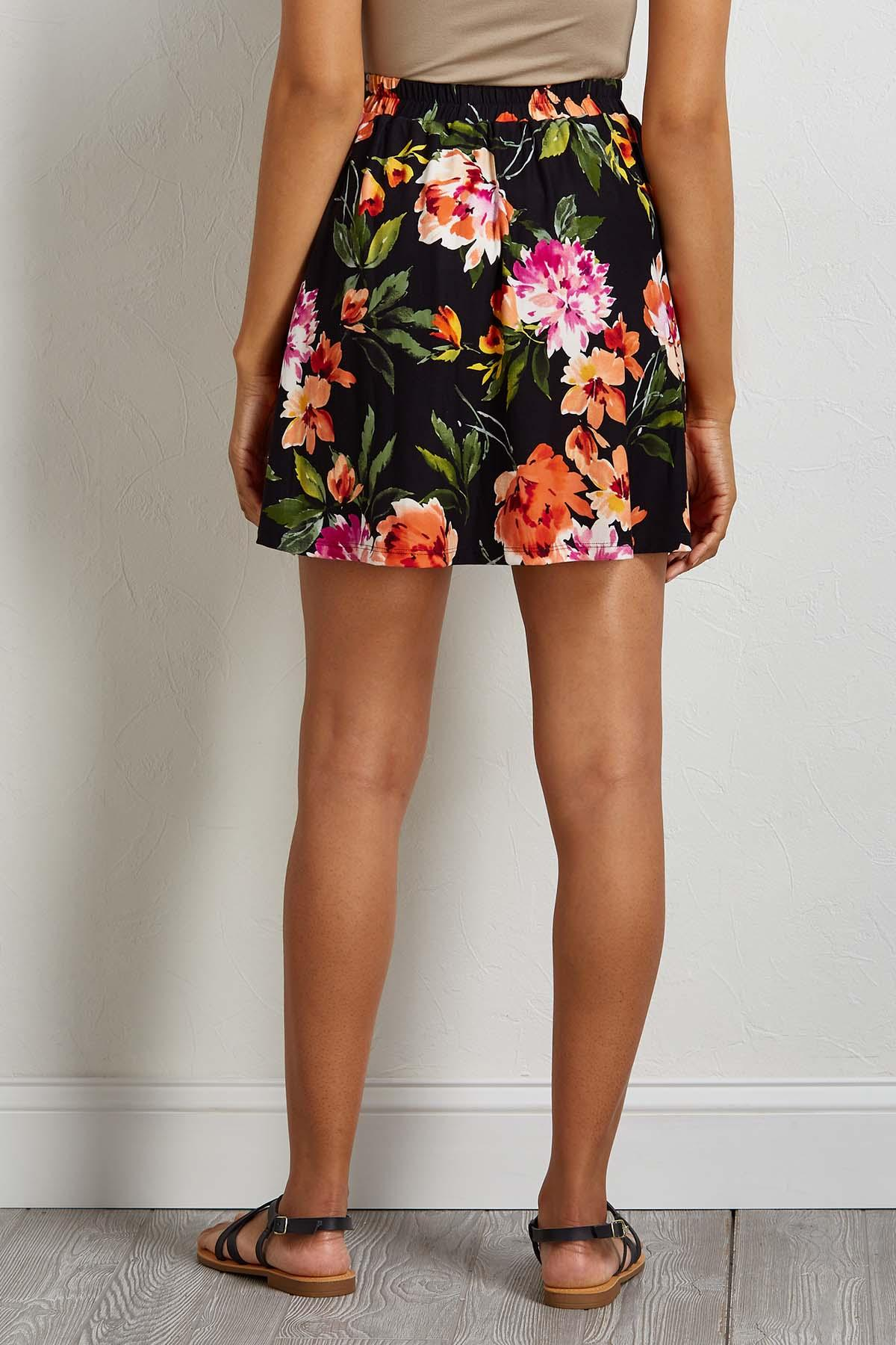 Floral Button Front Mini Skirt