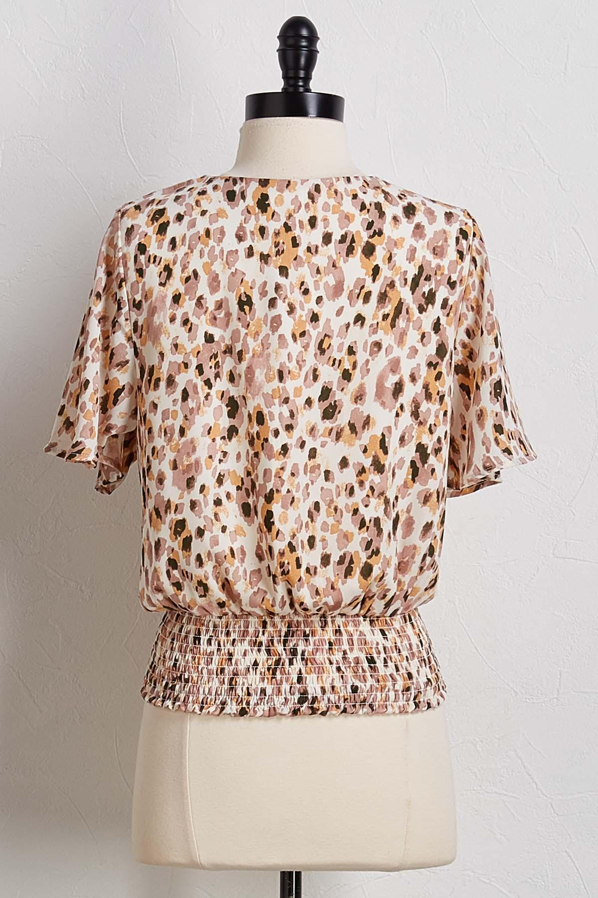Smocked Leopard Print Top