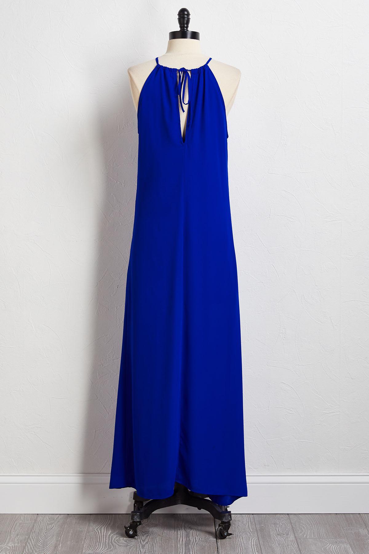 Blue Crepe Maxi Dress